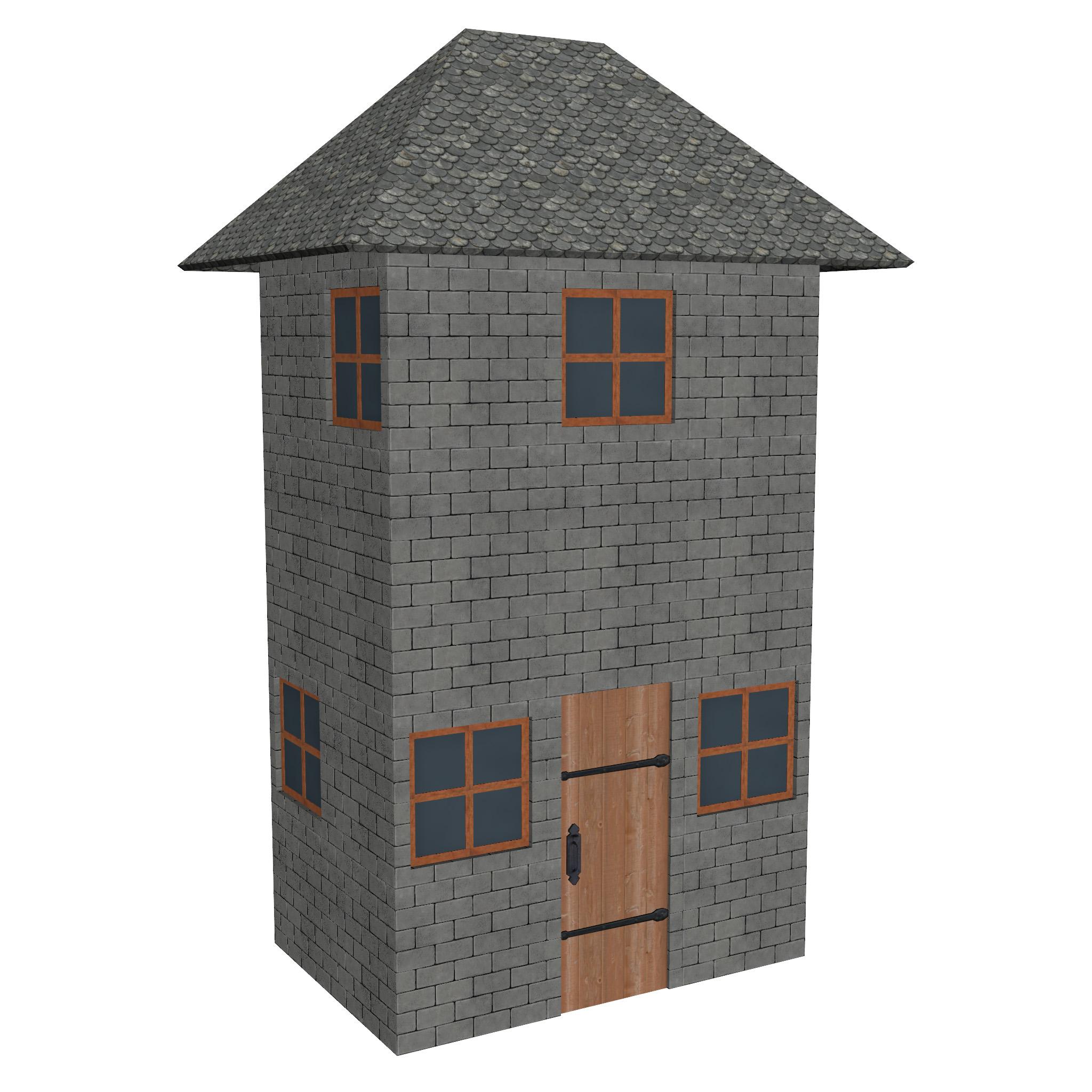 modular brick house set 3d model fbx ma mb 271404