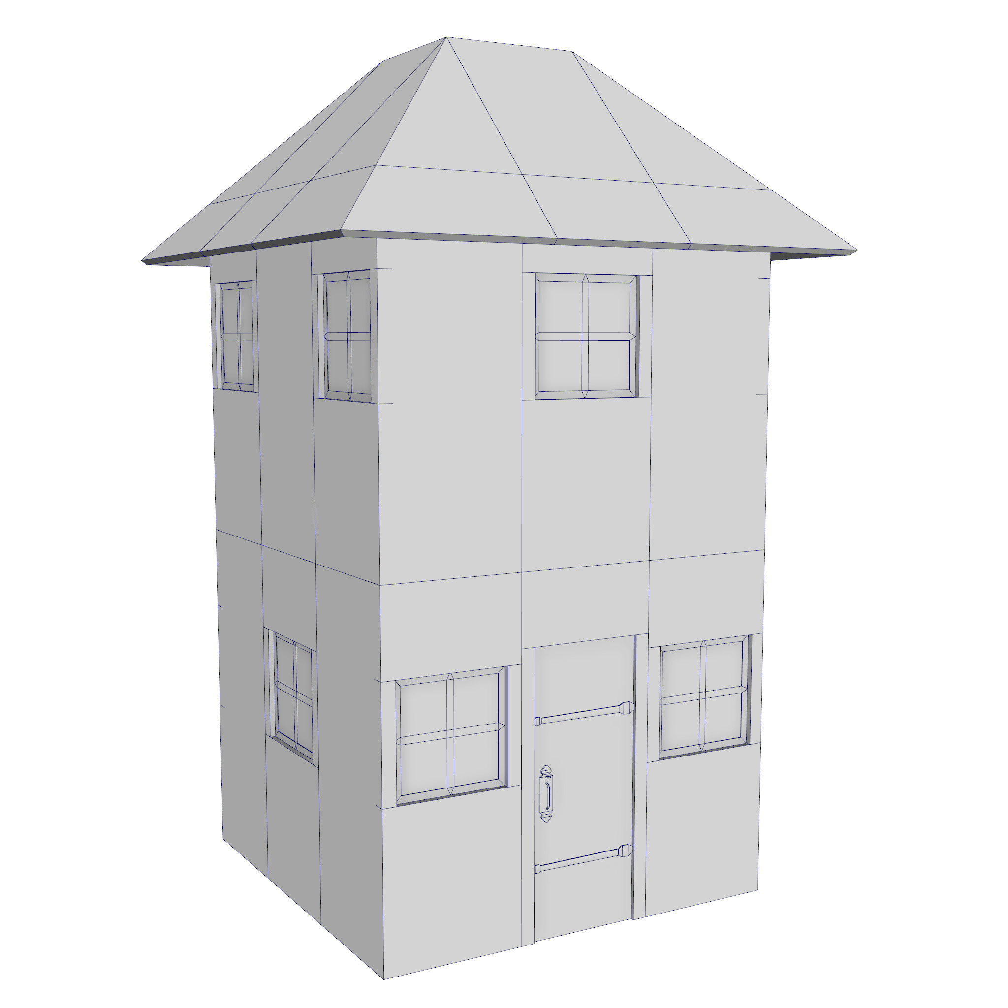 modular brick house set 3d model fbx ma mb 271405