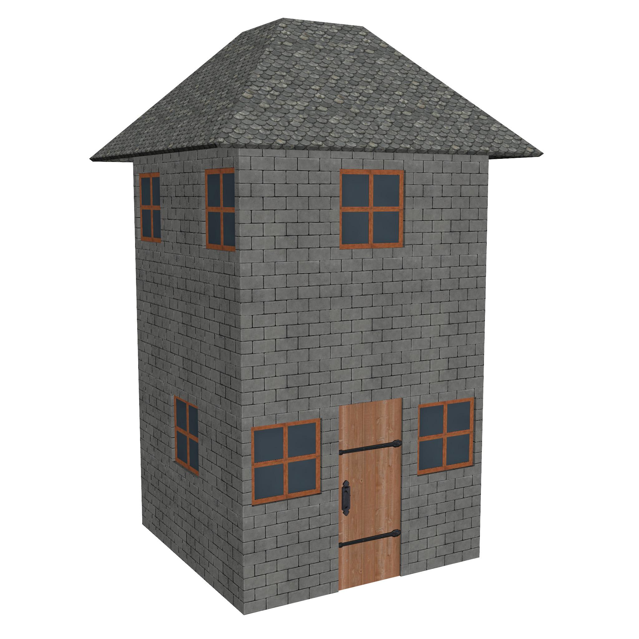 modular brick house set 3d model fbx ma mb 271406