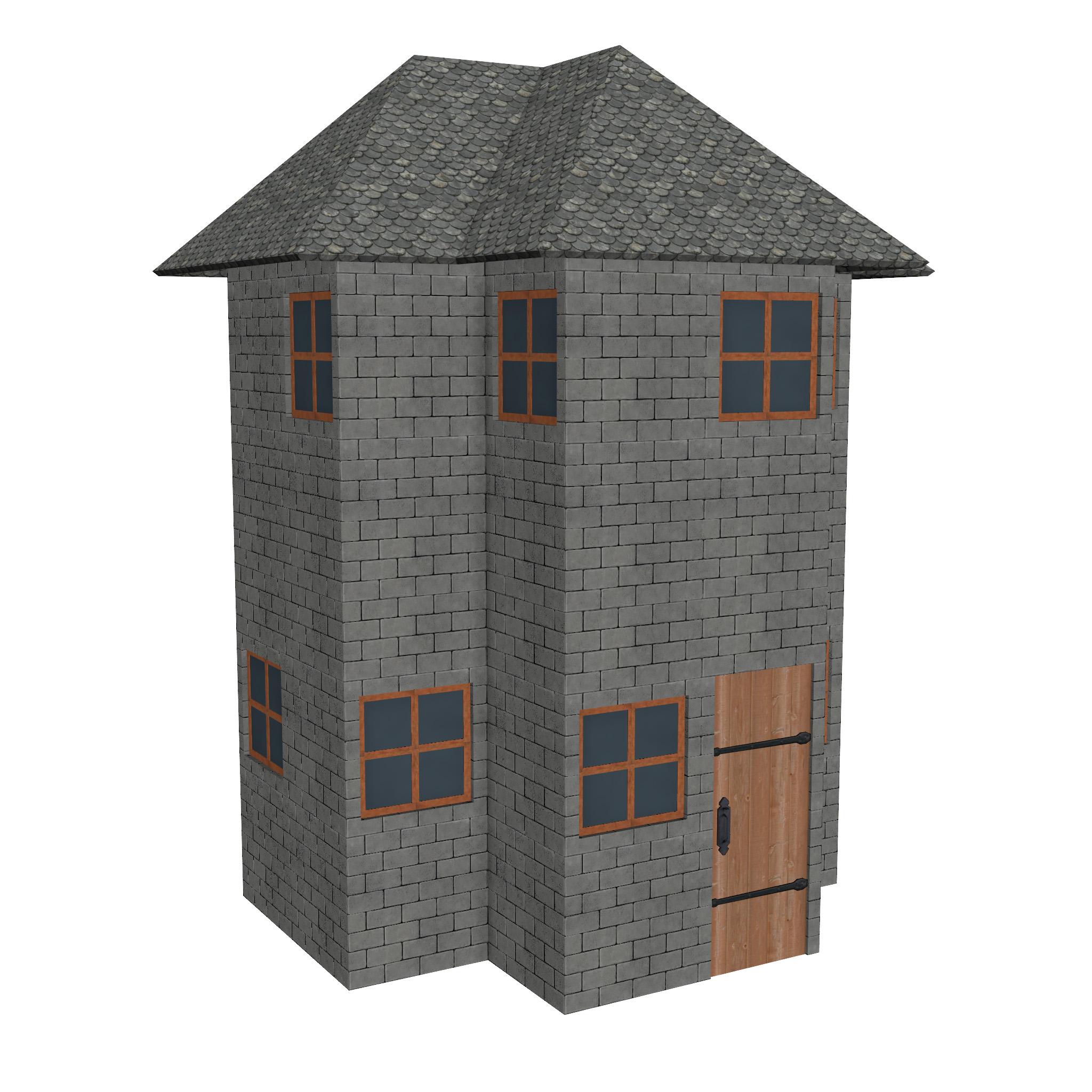 modular brick house set 3d model fbx ma mb 271408