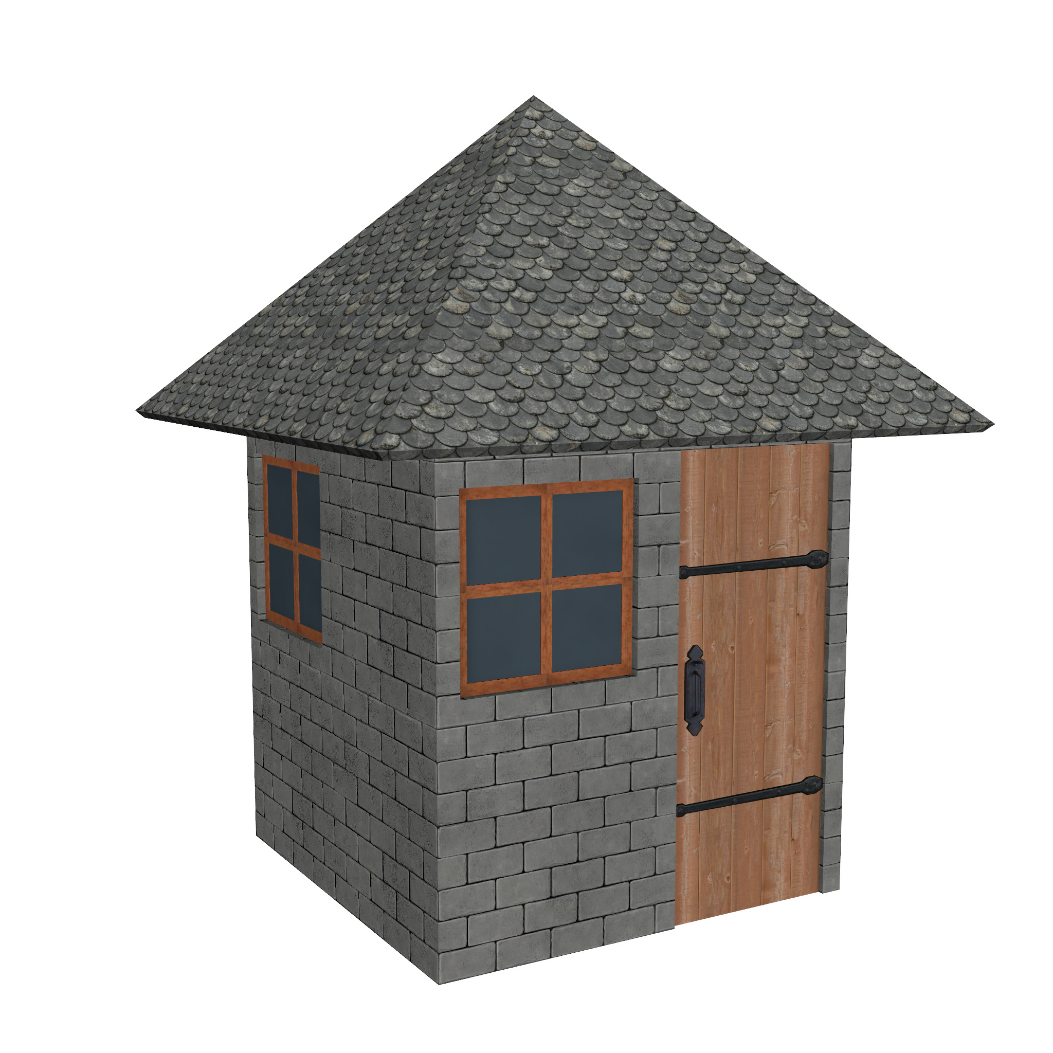 modular brick house set 3d model fbx ma mb 271414