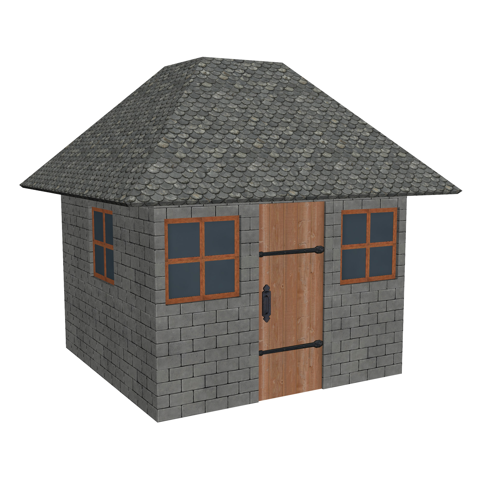 modular brick house set 3d model fbx ma mb 271420