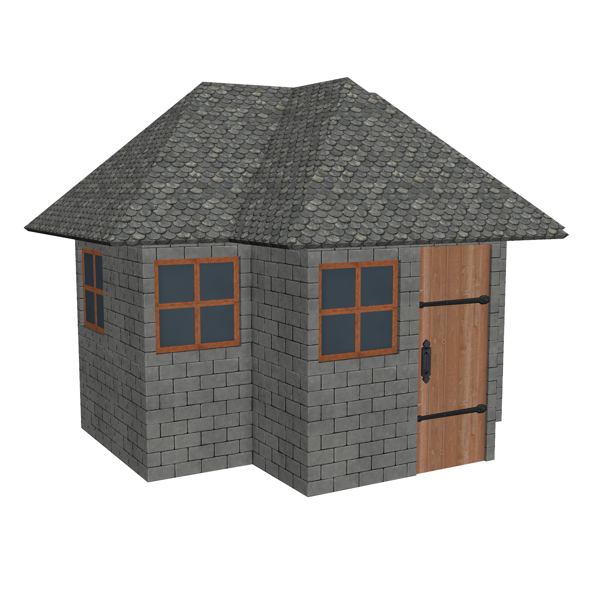 modular brick house set 3d model fbx ma mb 271422