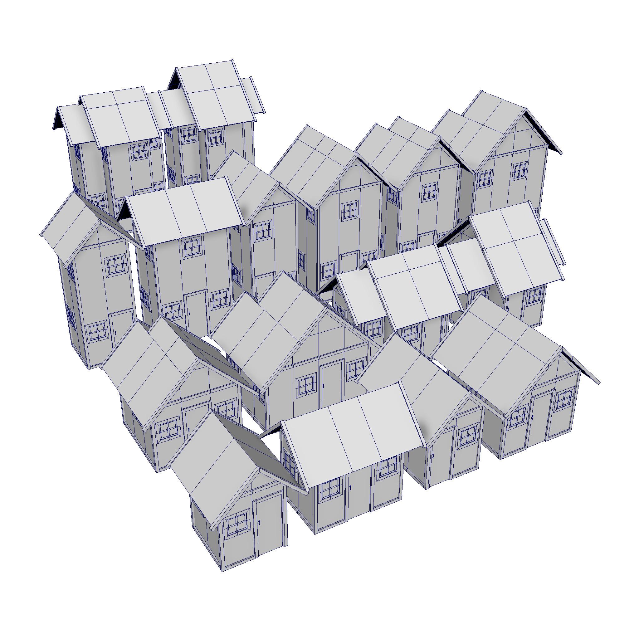 modularna drvena kućica set 3d model fbx ma mb 271429