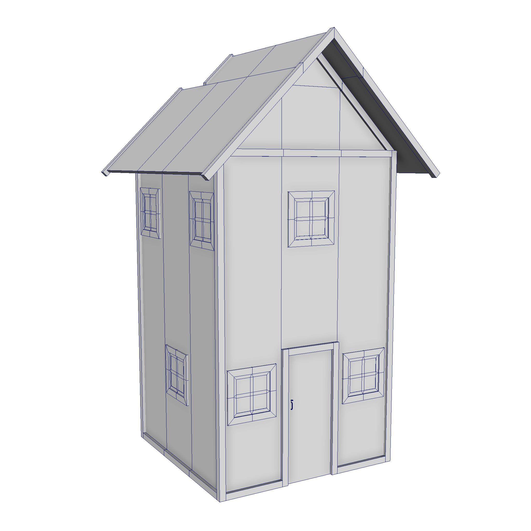 modularna drvena kućica set 3d model fbx ma mb 271430