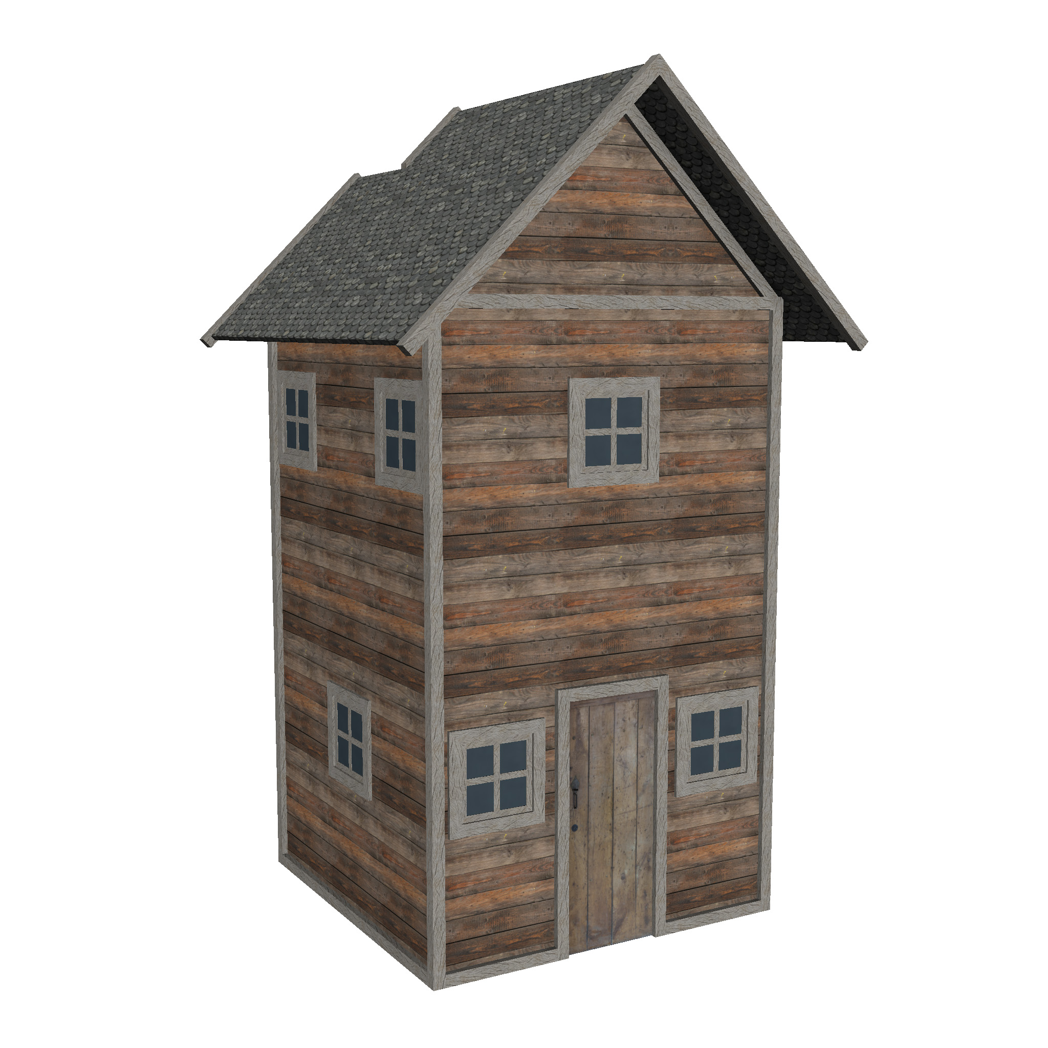 modular wood house set 3d model fbx ma mb 271431