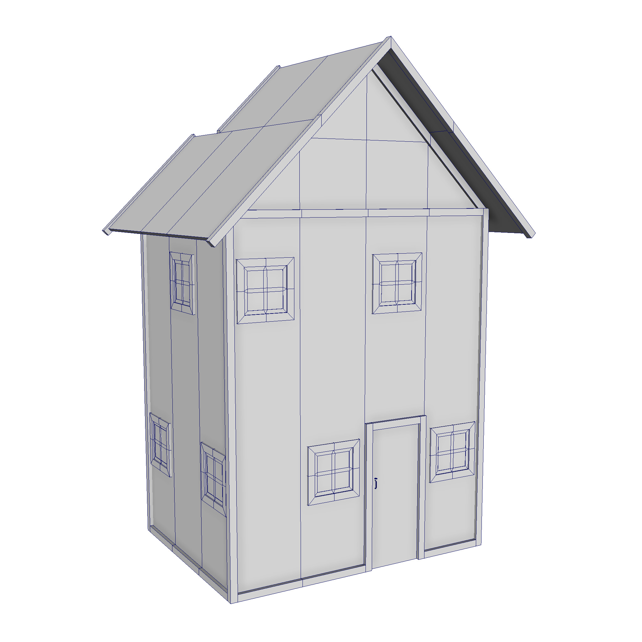 modular wood house set 3d model fbx ma mb 271432