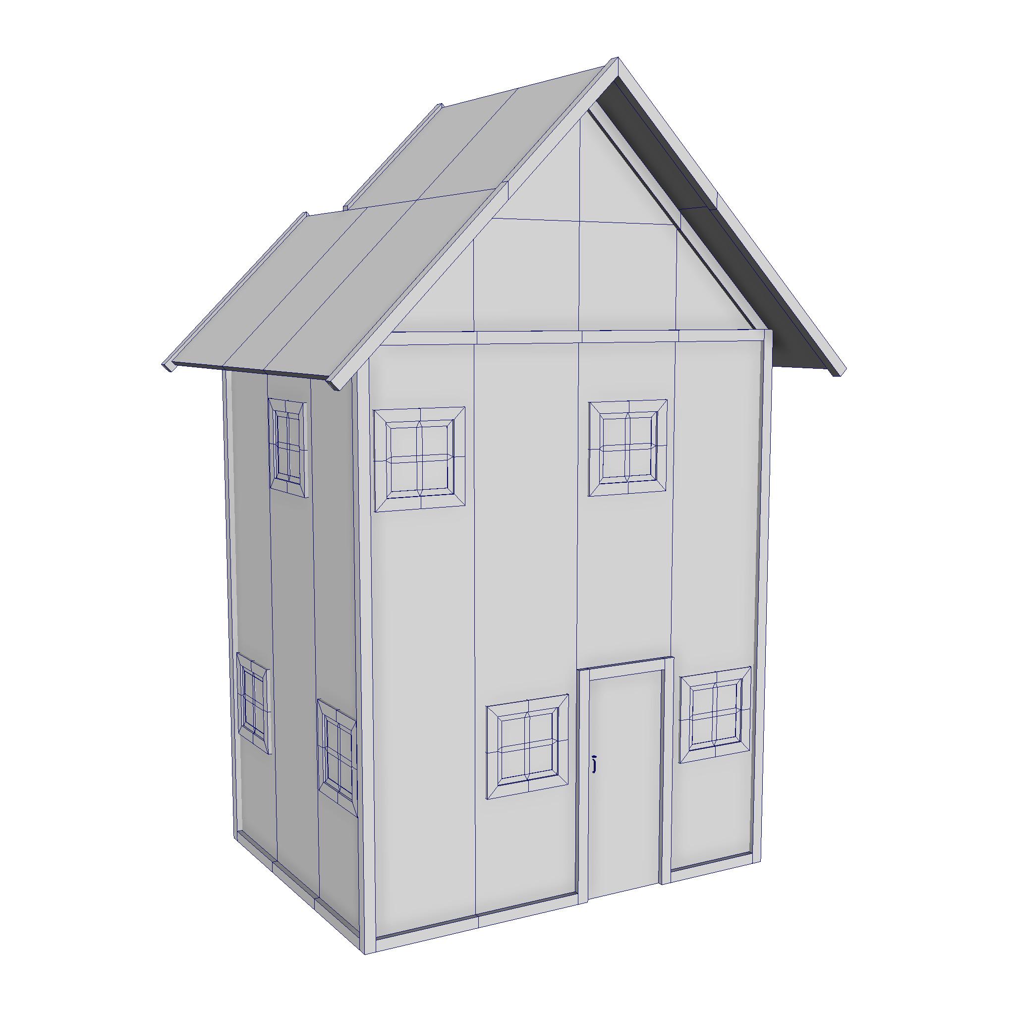 modularna drvena kućica set 3d model fbx ma mb 271432