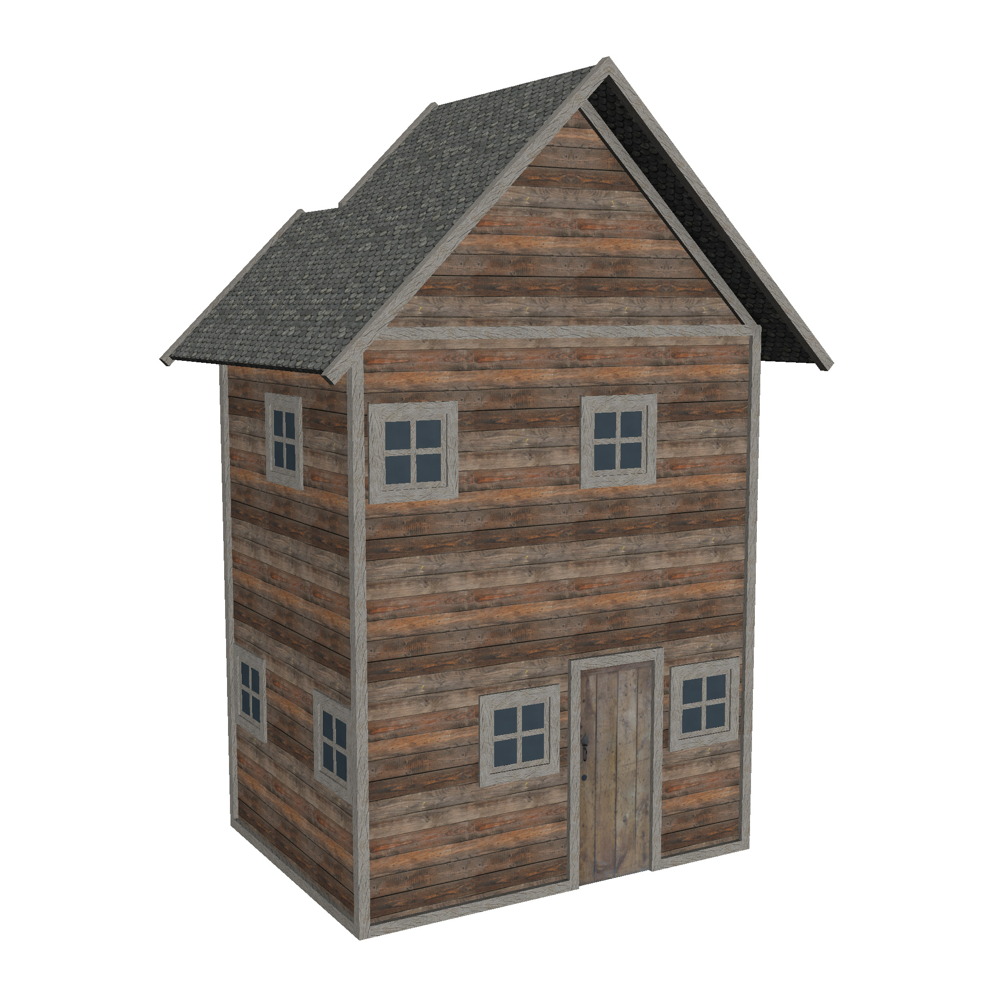 modular wood house set 3d model fbx ma mb 271433
