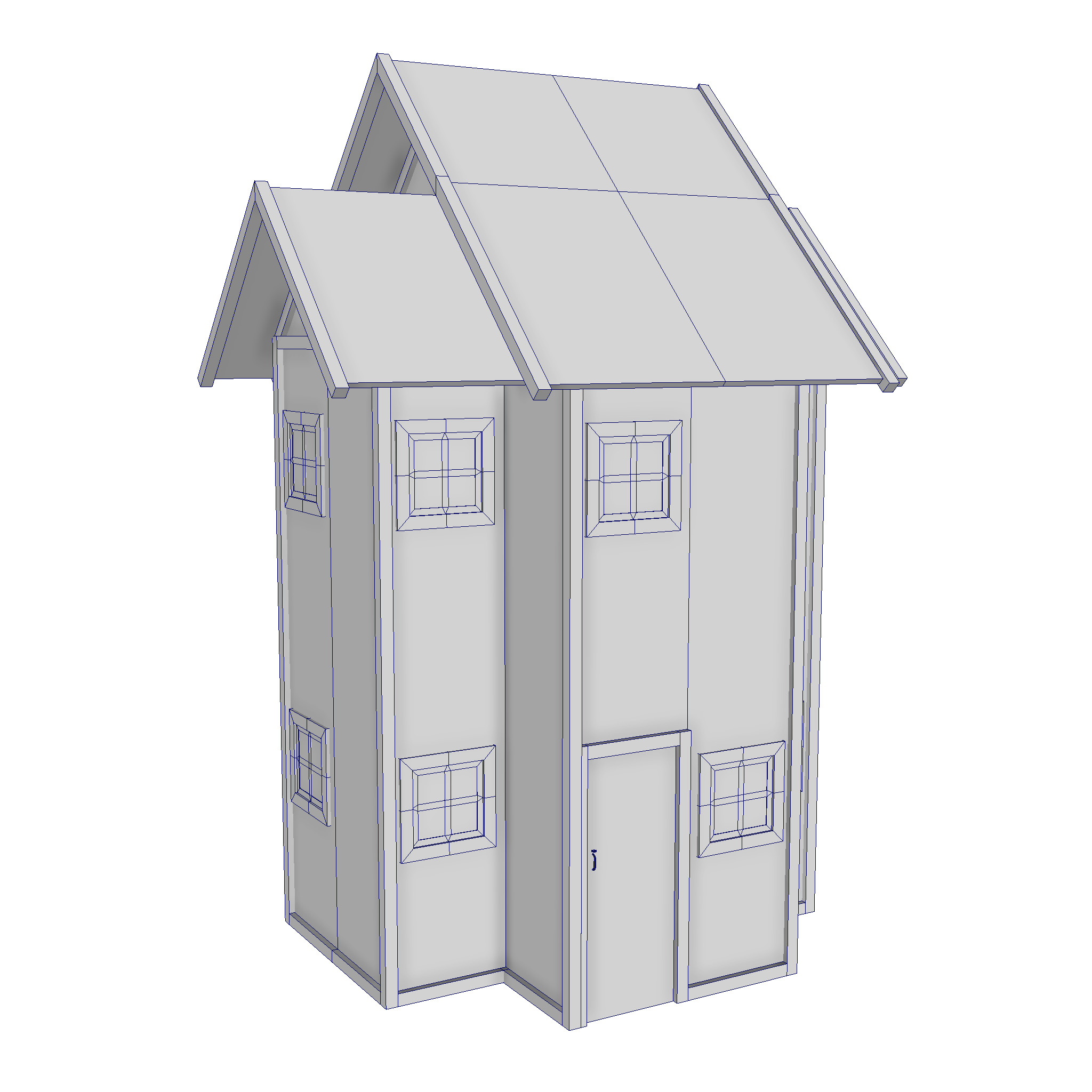 modular wood house set 3d model fbx ma mb 271434