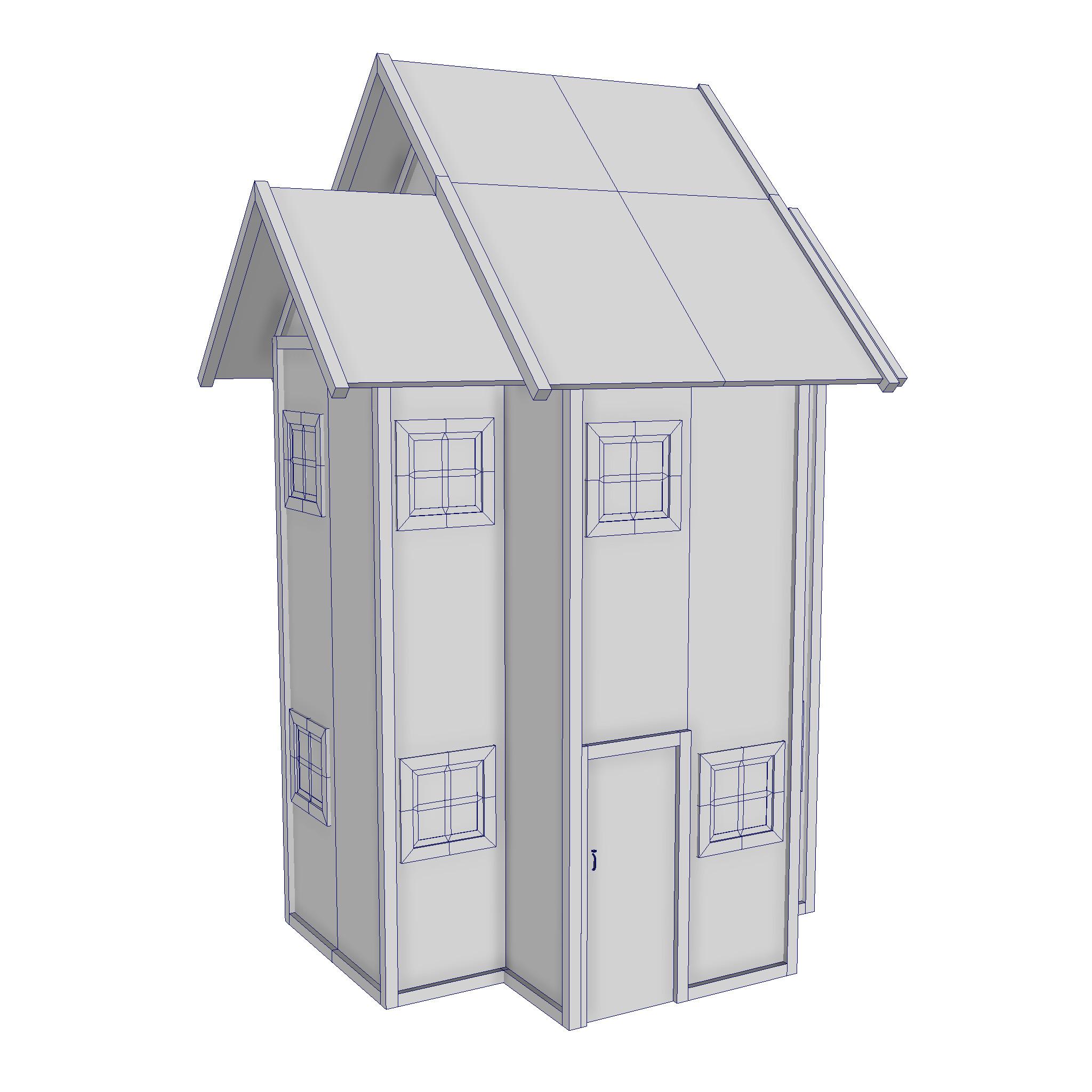 modularna drvena kućica set 3d model fbx ma mb 271434