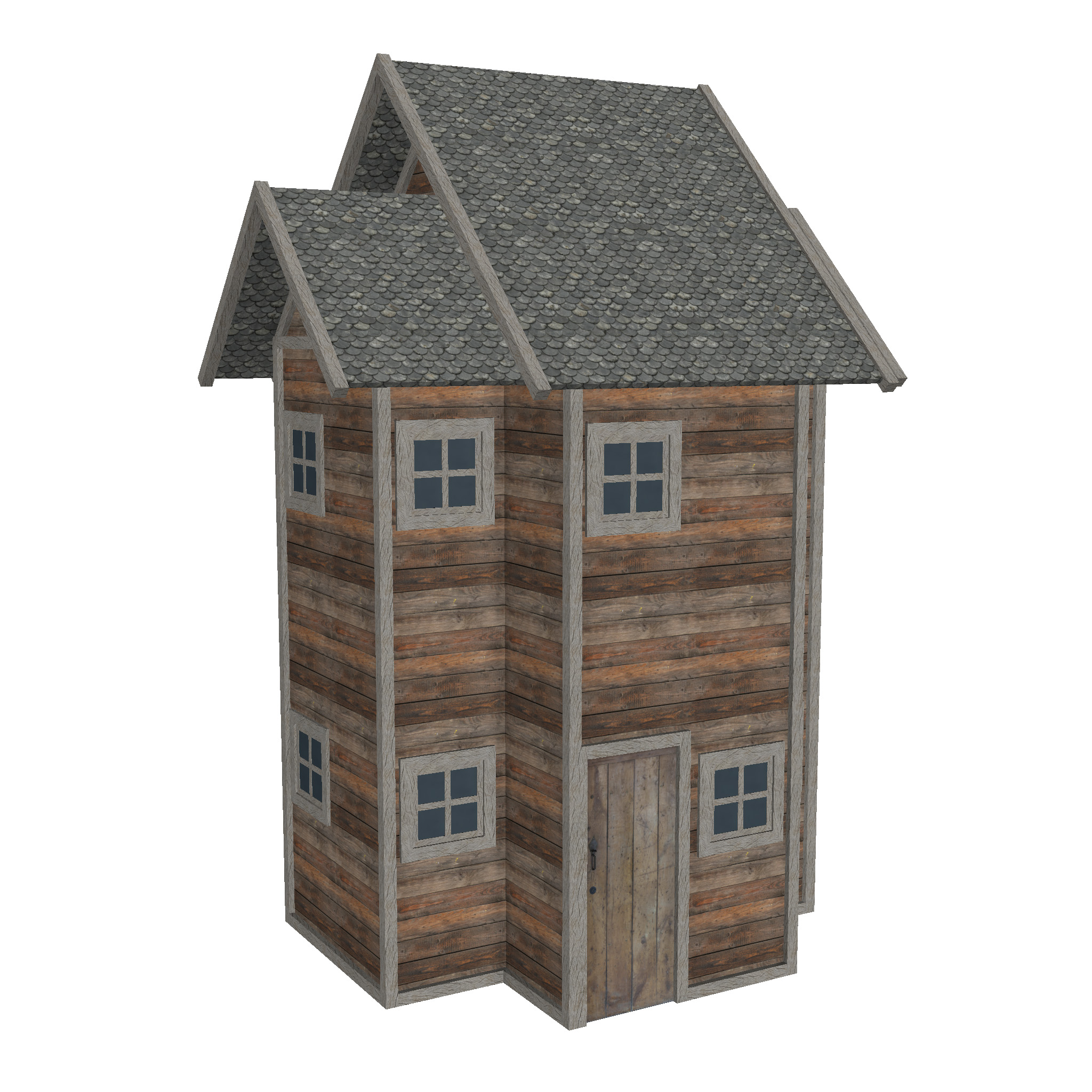 modular wood house set 3d model fbx ma mb 271435