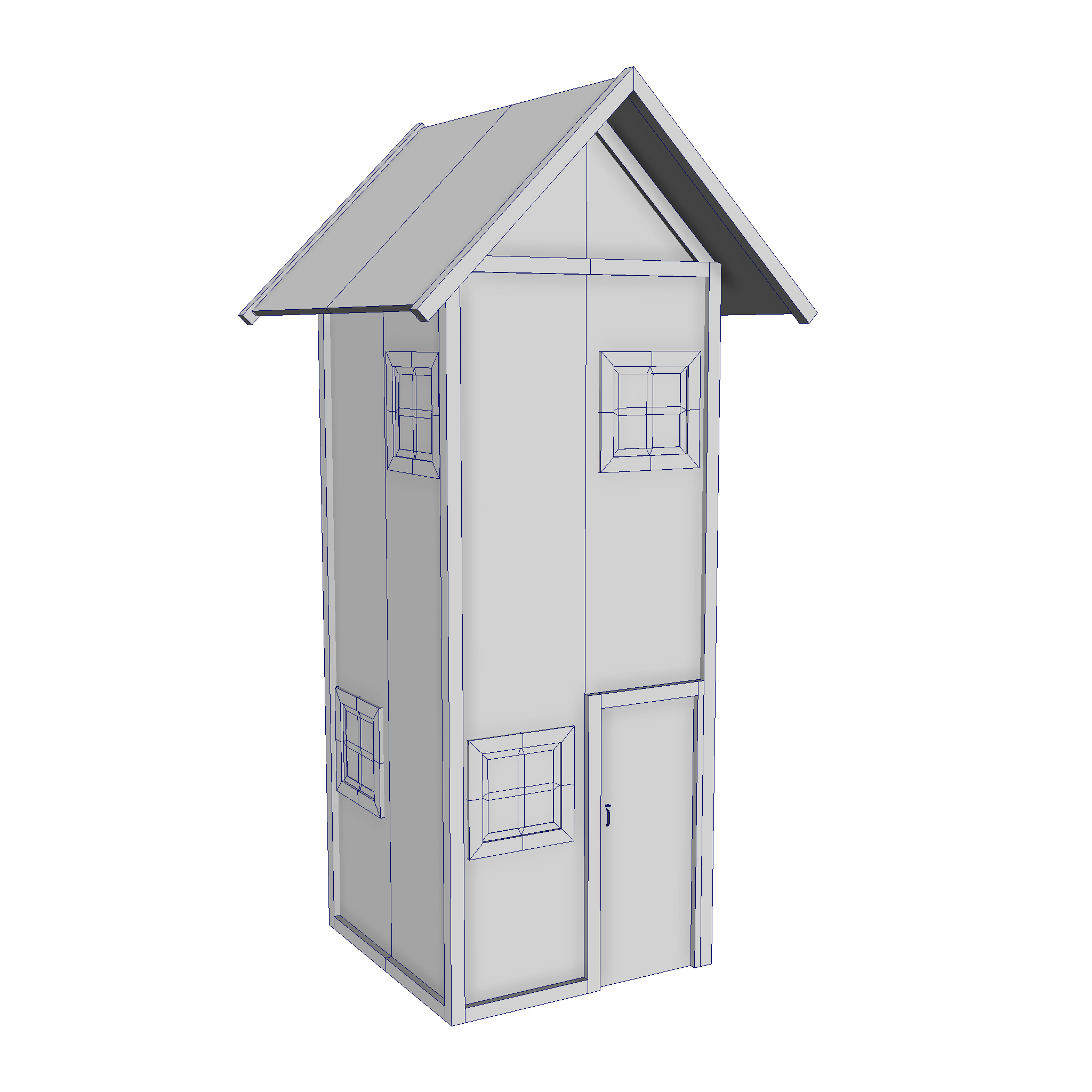 modular wood house set 3d model fbx ma mb 271436