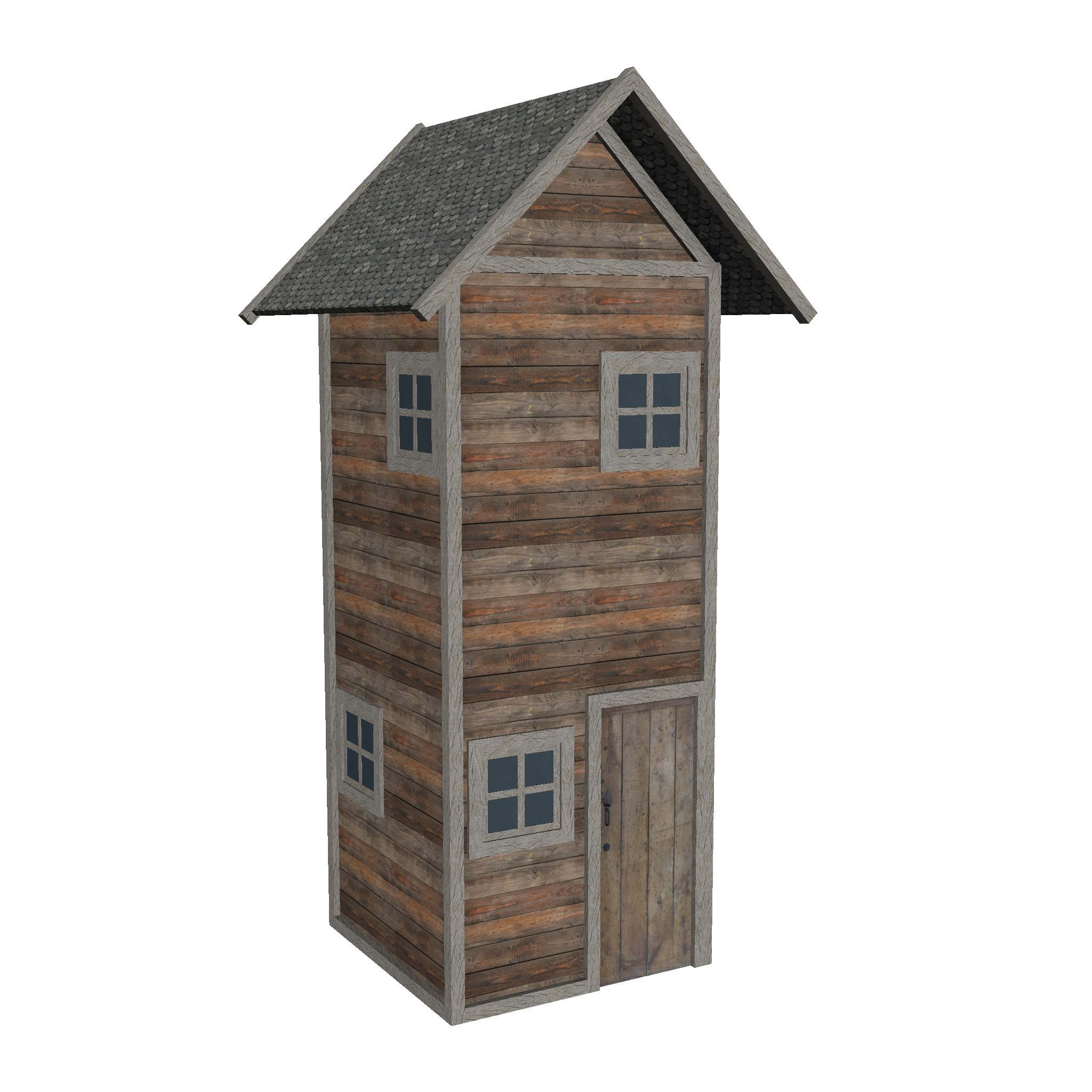 modular wood house set 3d model fbx ma mb 271437