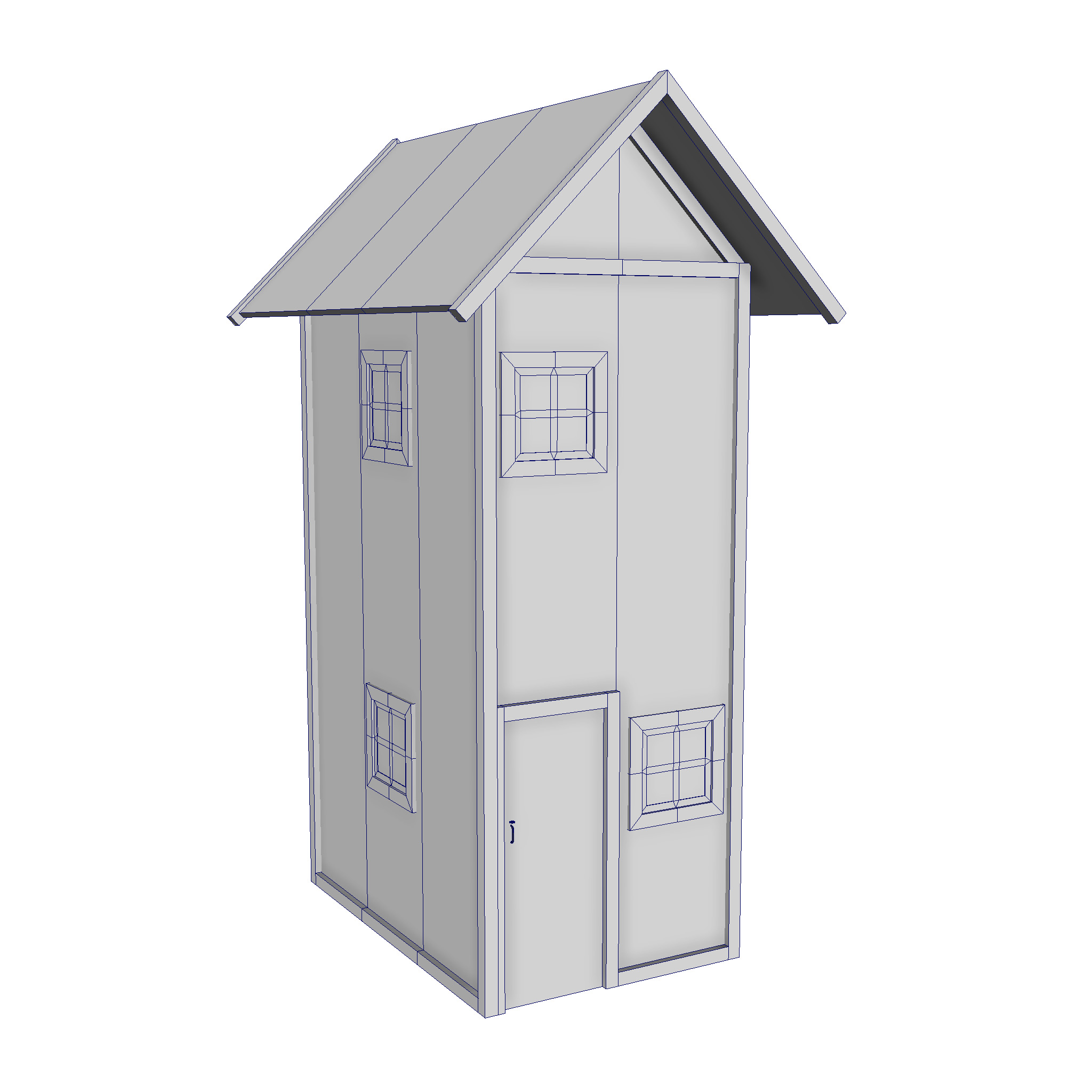 modular wood house set 3d model fbx ma mb 271438