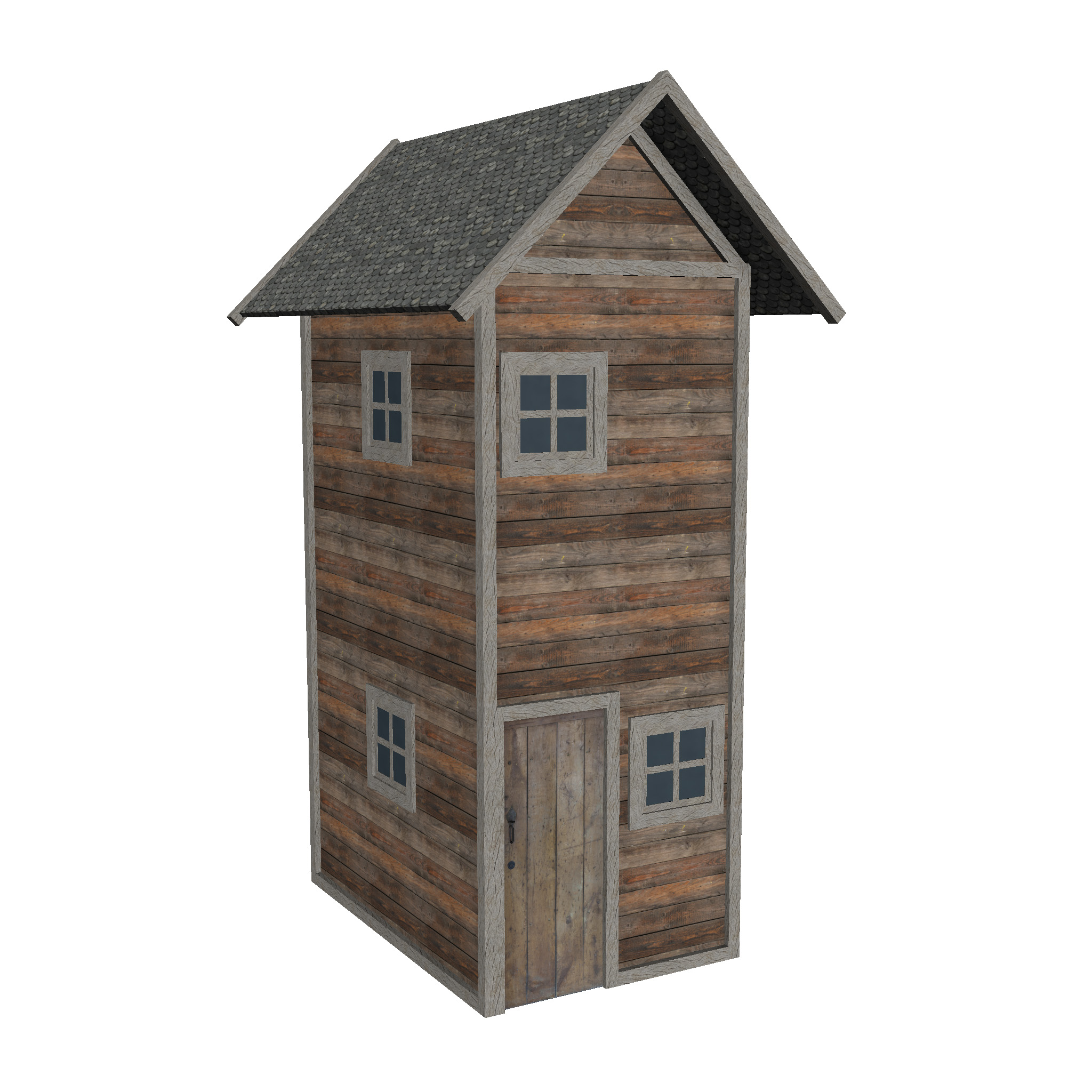 modular wood house set 3d model fbx ma mb 271439