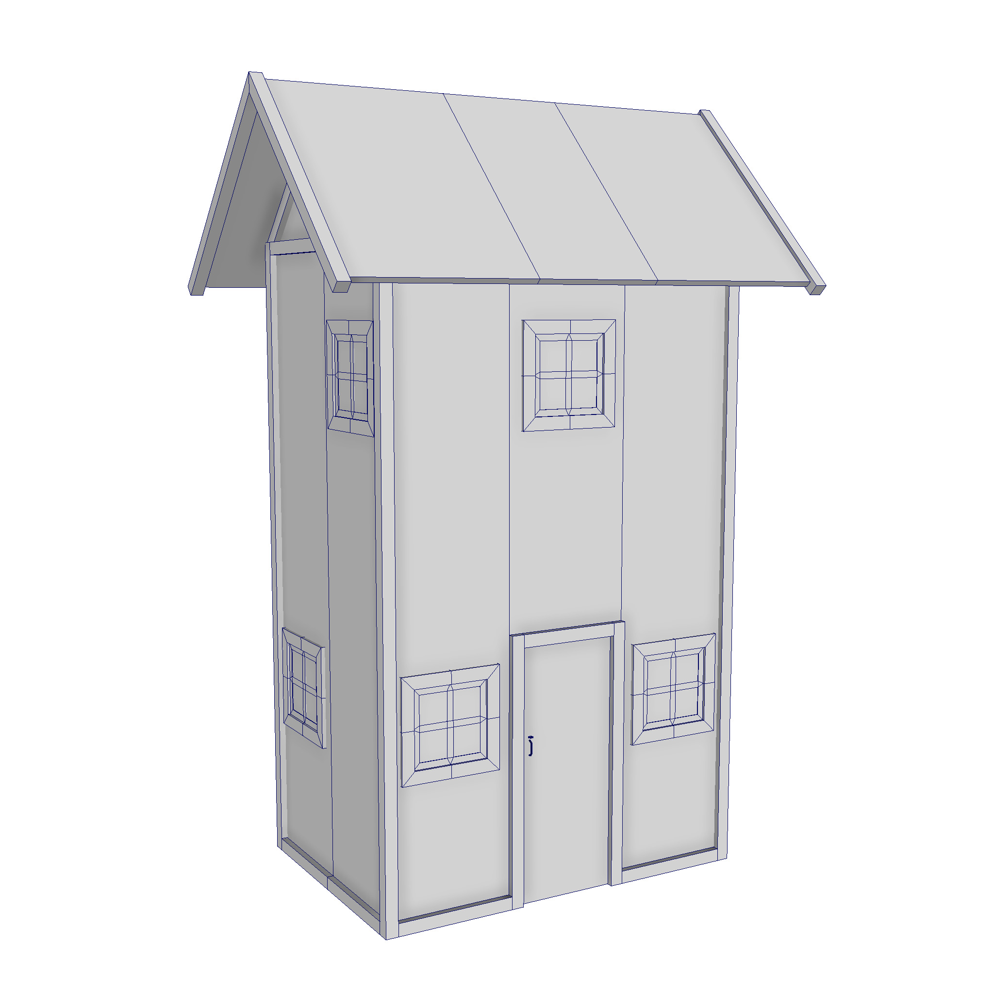 modular wood house set 3d model fbx ma mb 271440