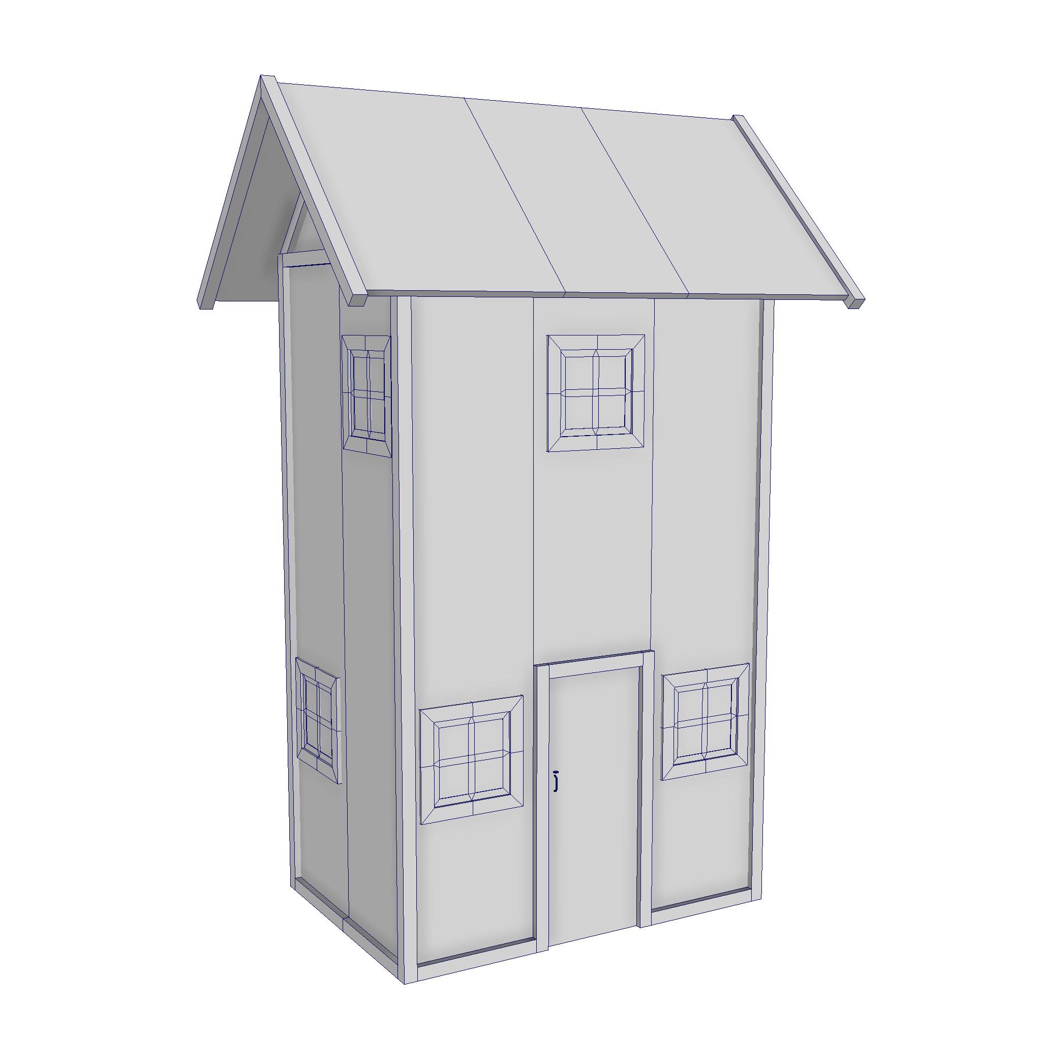 modularna drvena kućica set 3d model fbx ma mb 271440