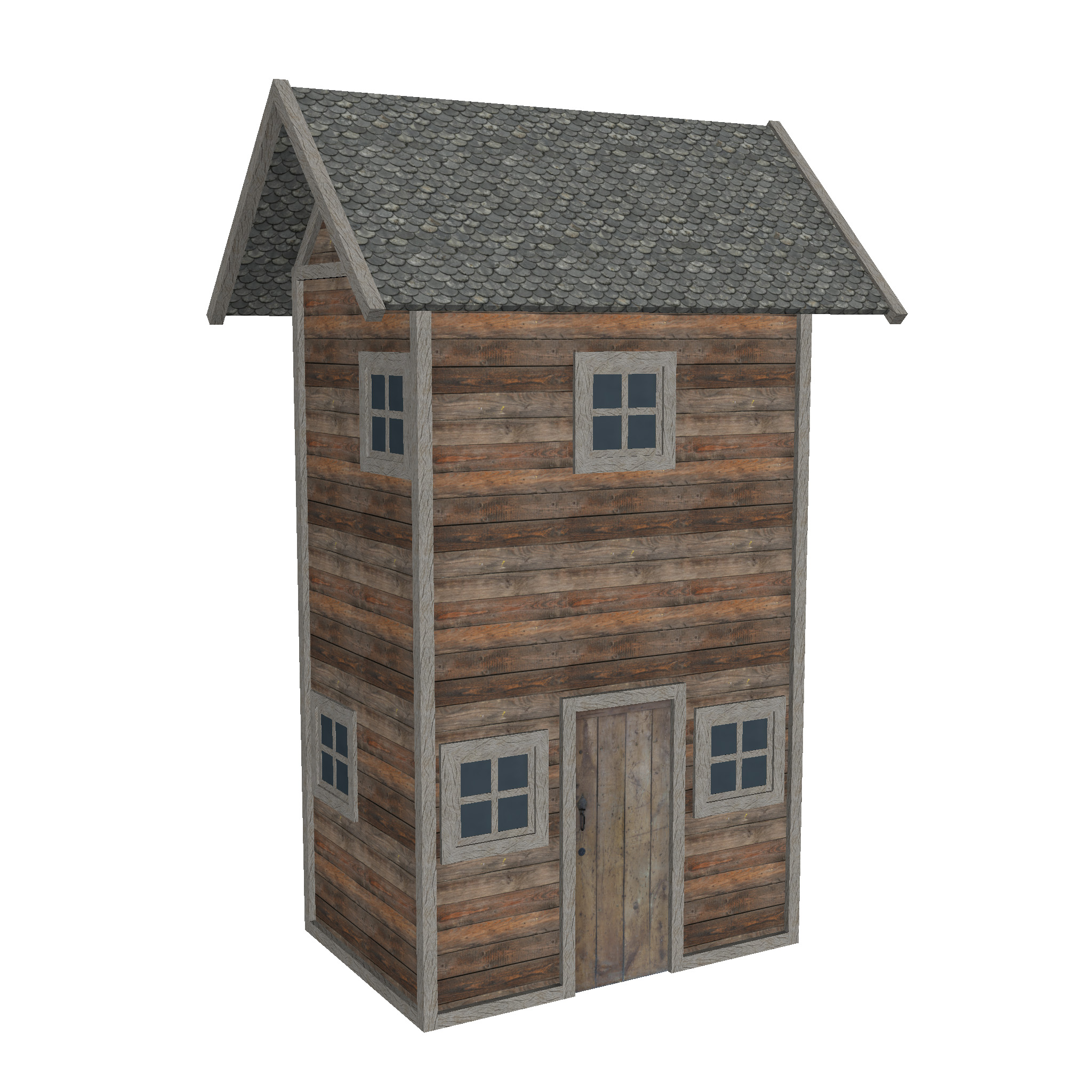 modular wood house set 3d model fbx ma mb 271441