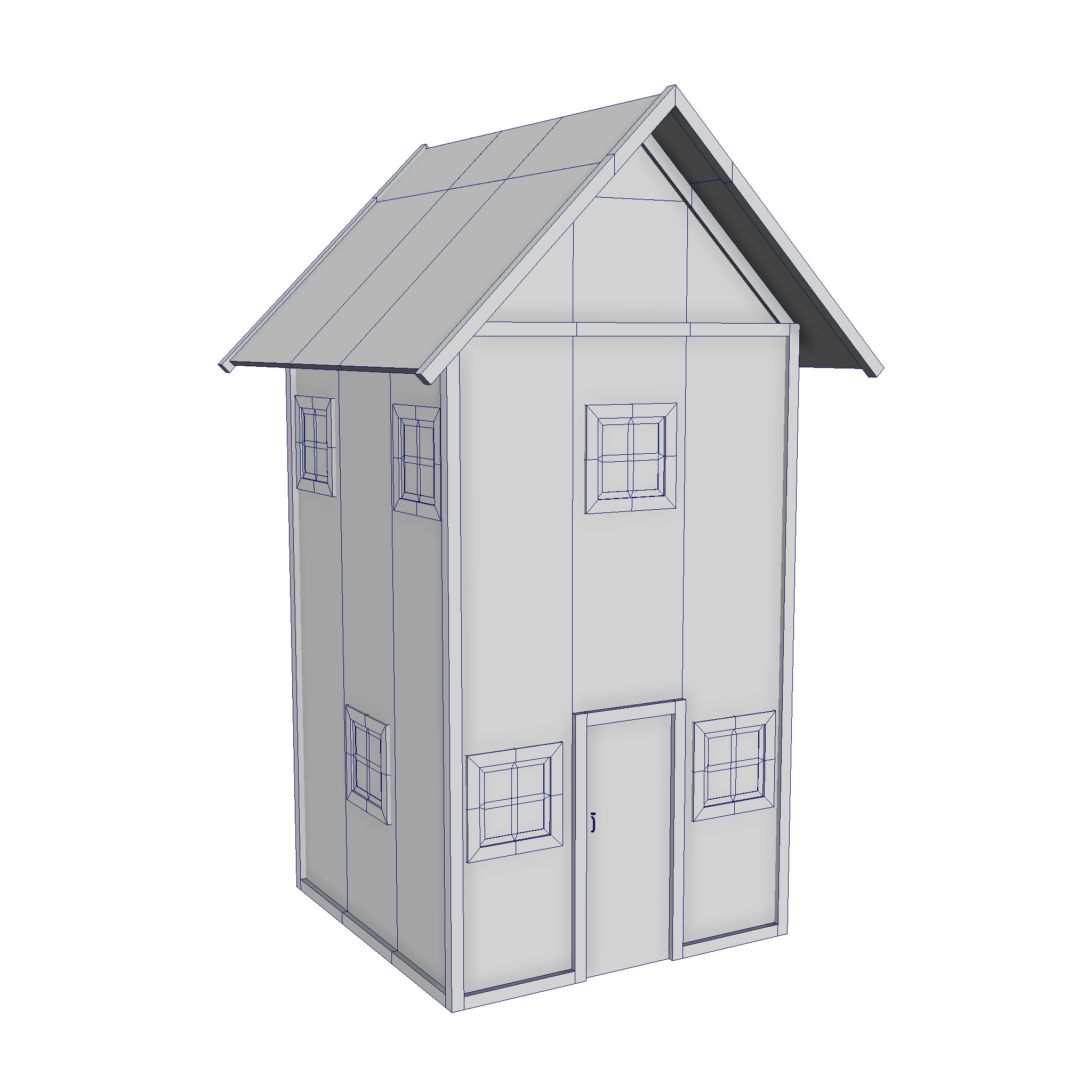 modular wood house set 3d model fbx ma mb 271442