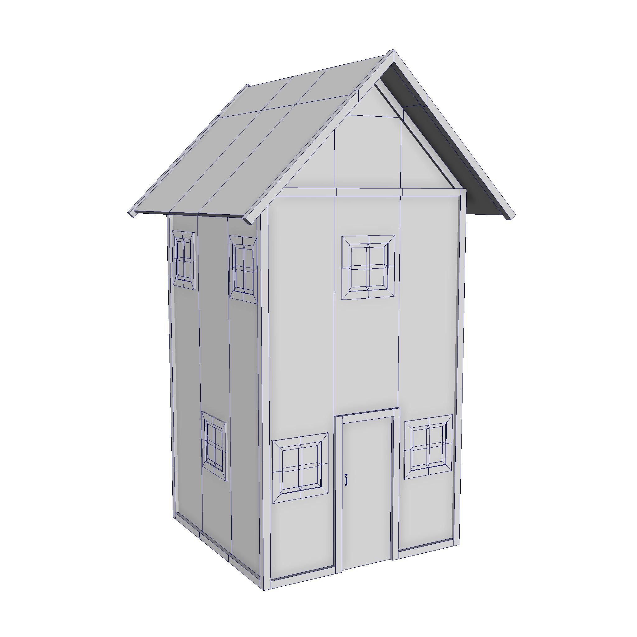 modularna drvena kućica set 3d model fbx ma mb 271442