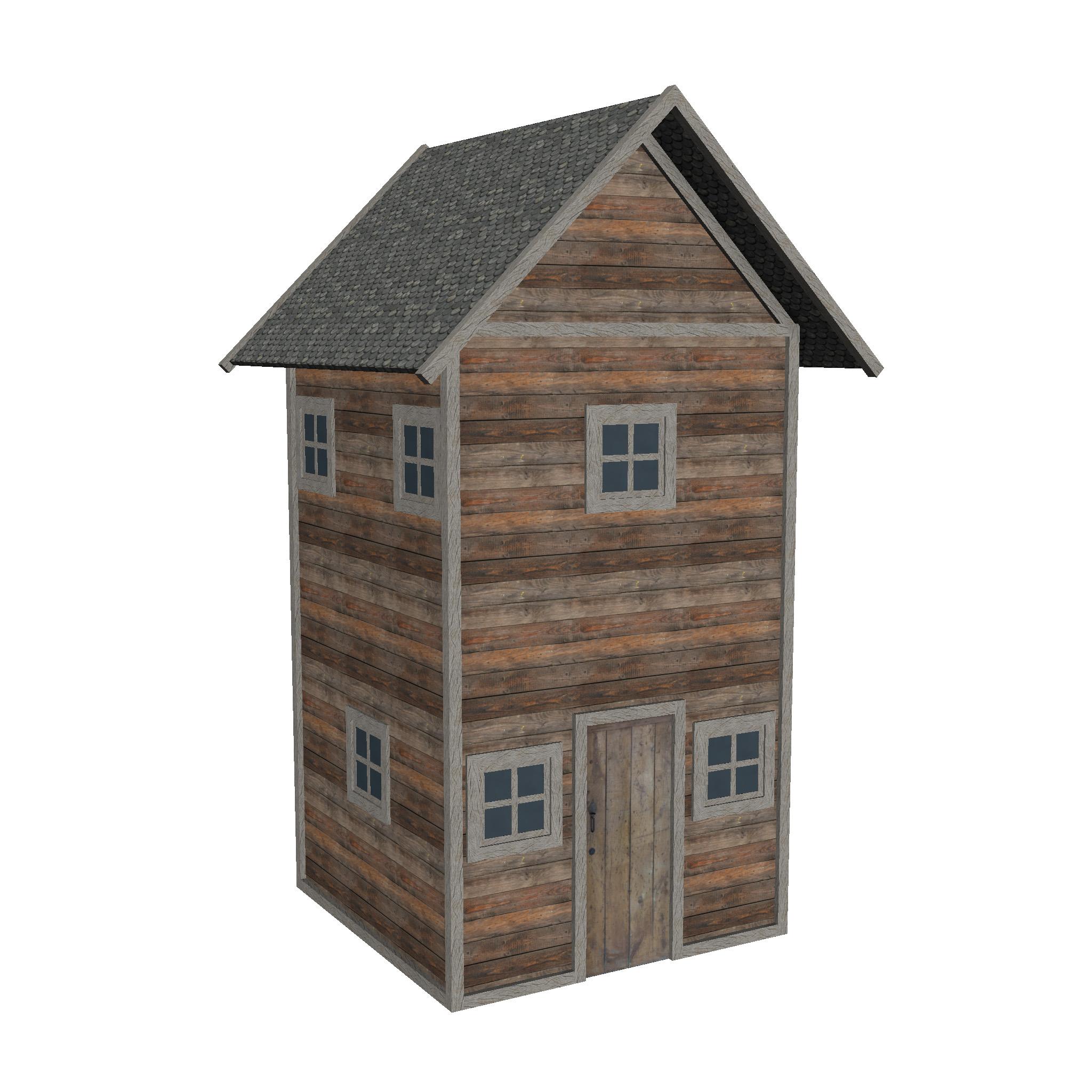 modularna drvena kućica set 3d model fbx ma mb 271443