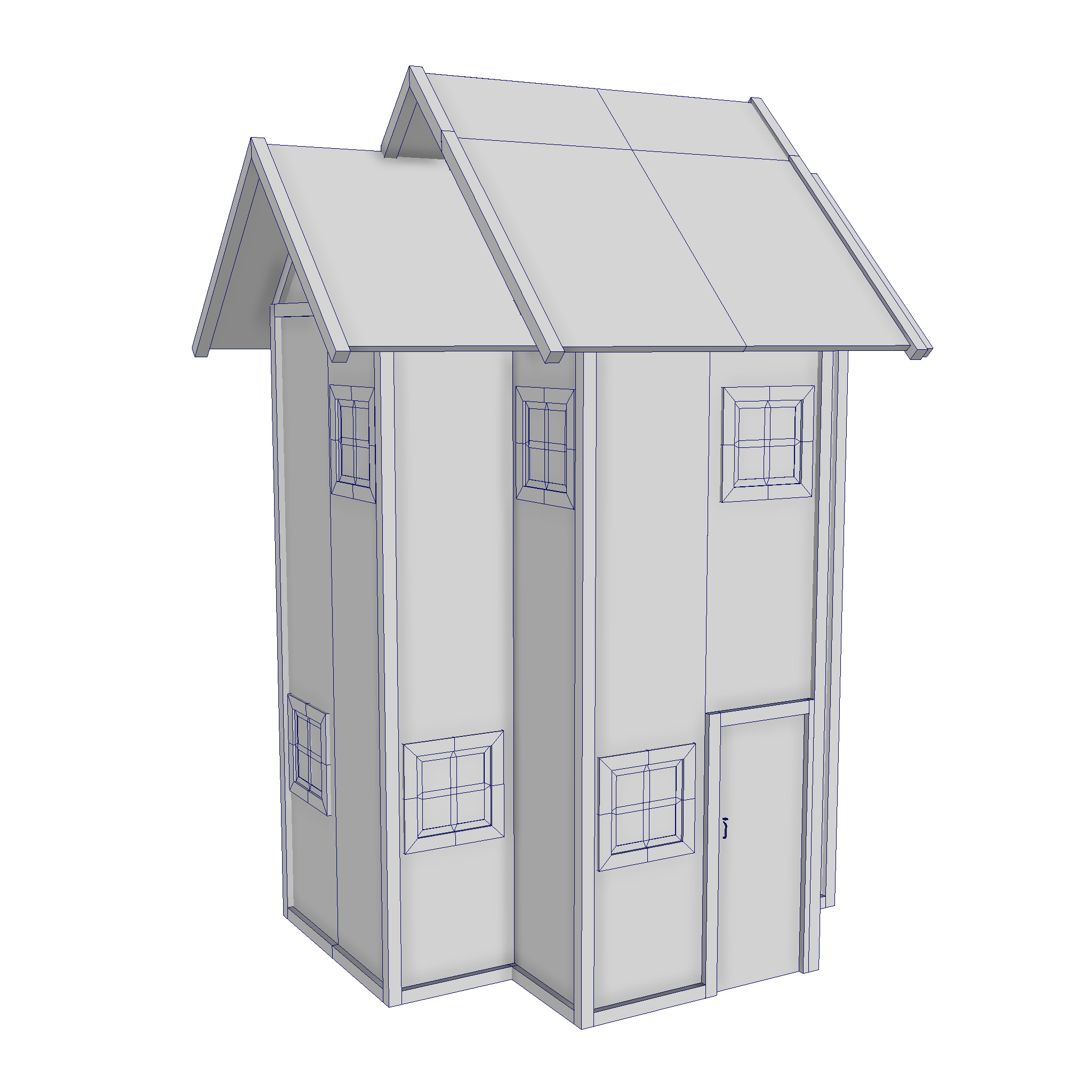 modular wood house set 3d model fbx ma mb 271444