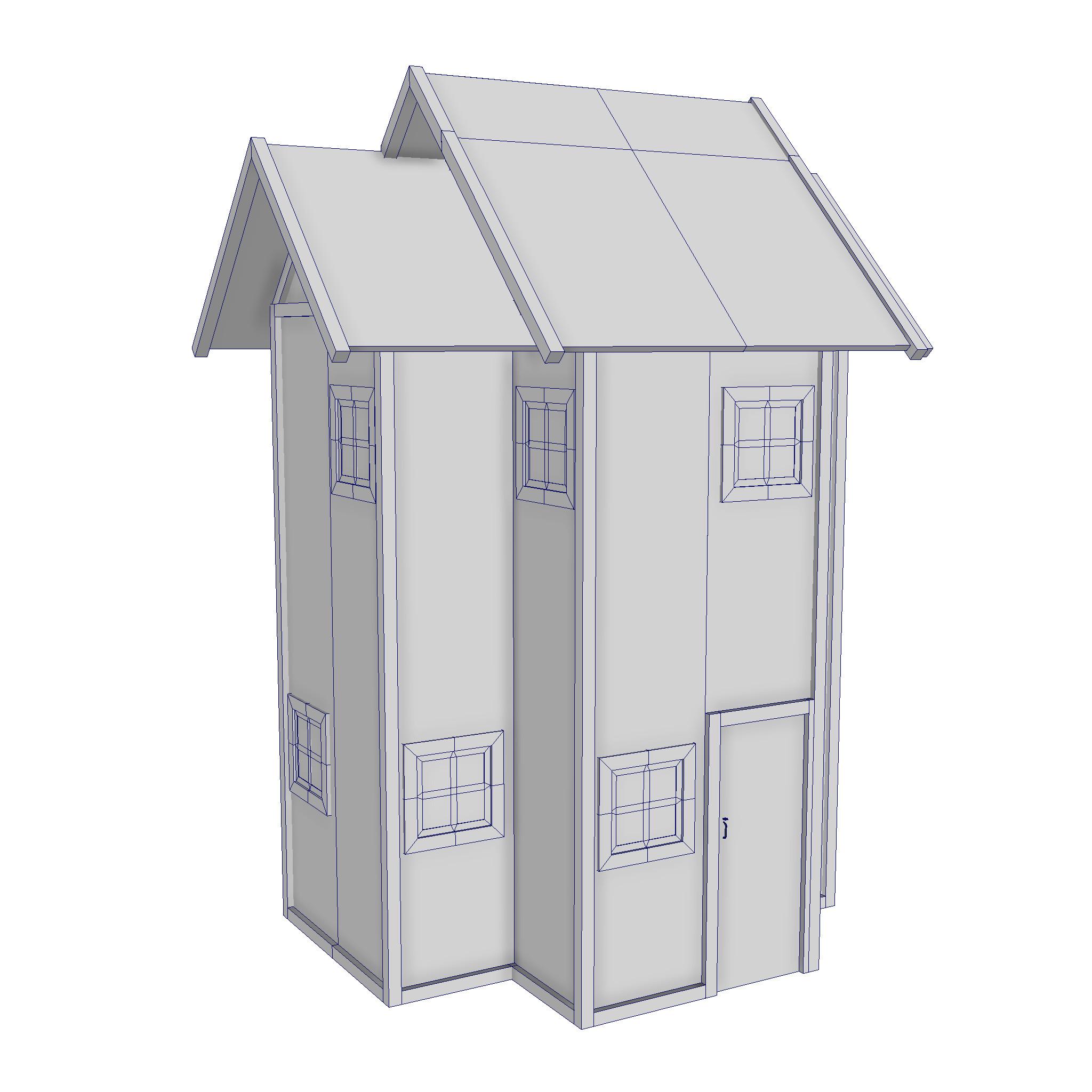 modularna drvena kućica set 3d model fbx ma mb 271444