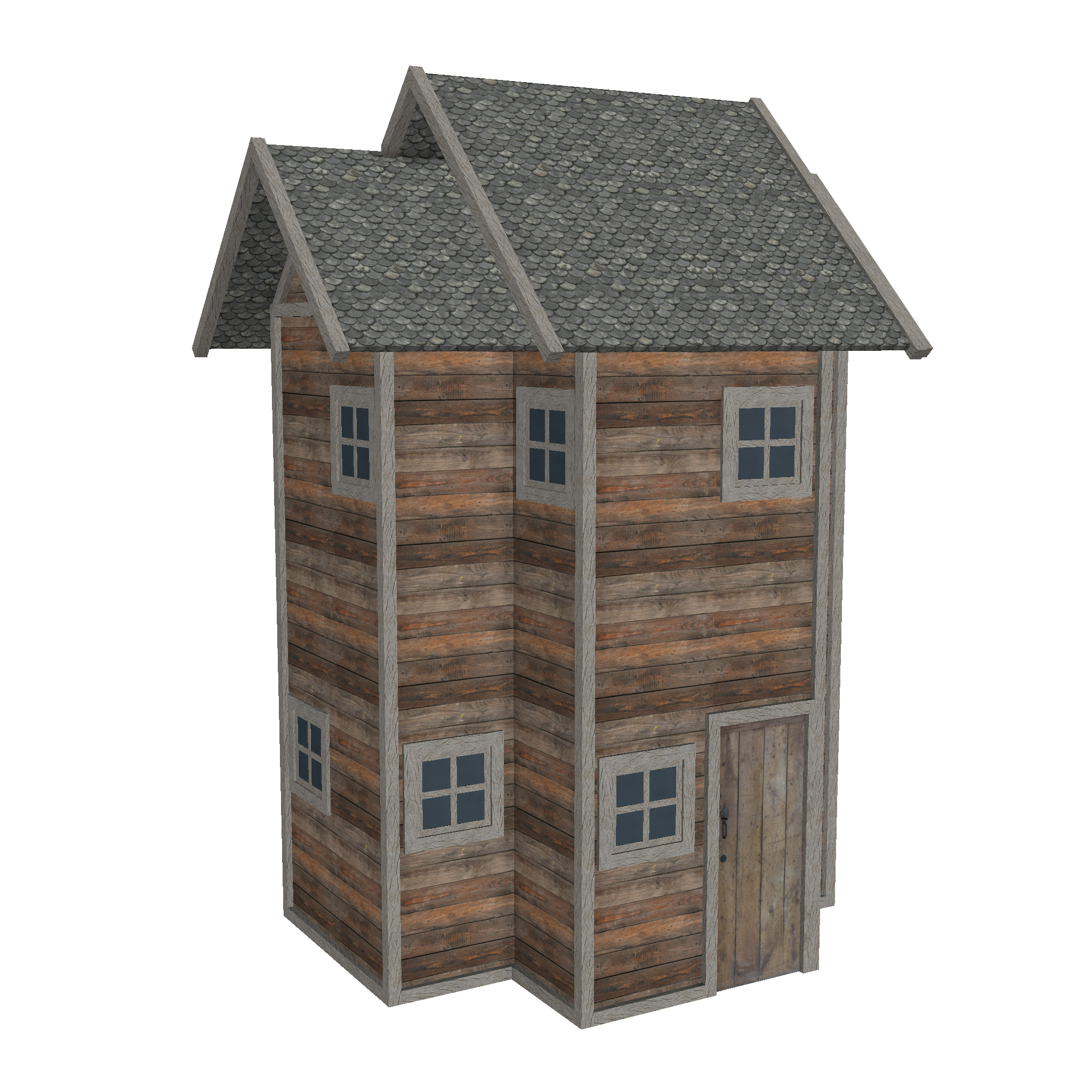modular wood house set 3d model fbx ma mb 271445