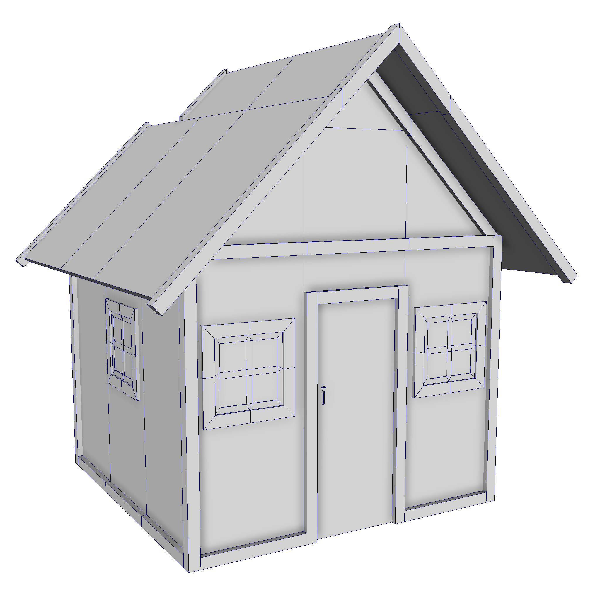 modular wood house set 3d model fbx ma mb 271446