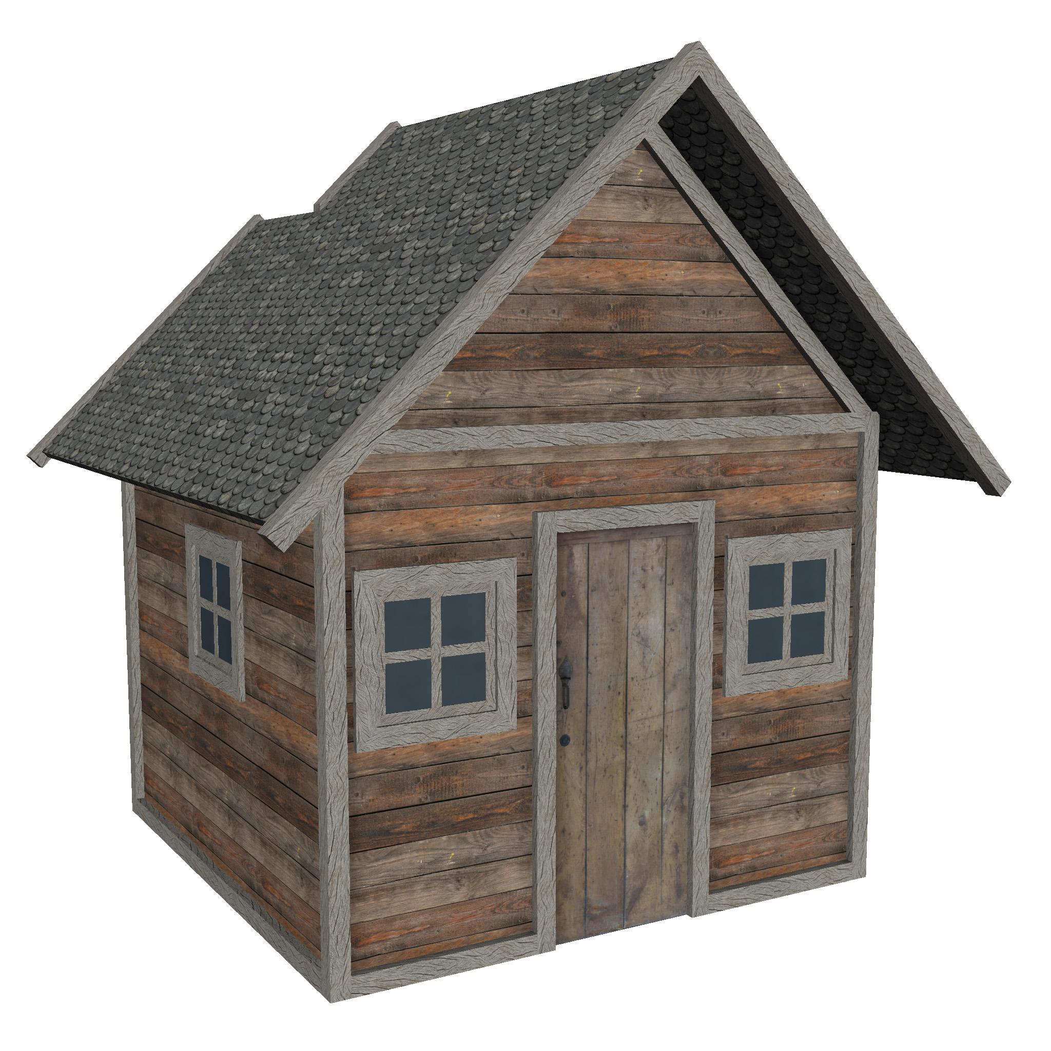 modularna drvena kućica set 3d model fbx ma mb 271447