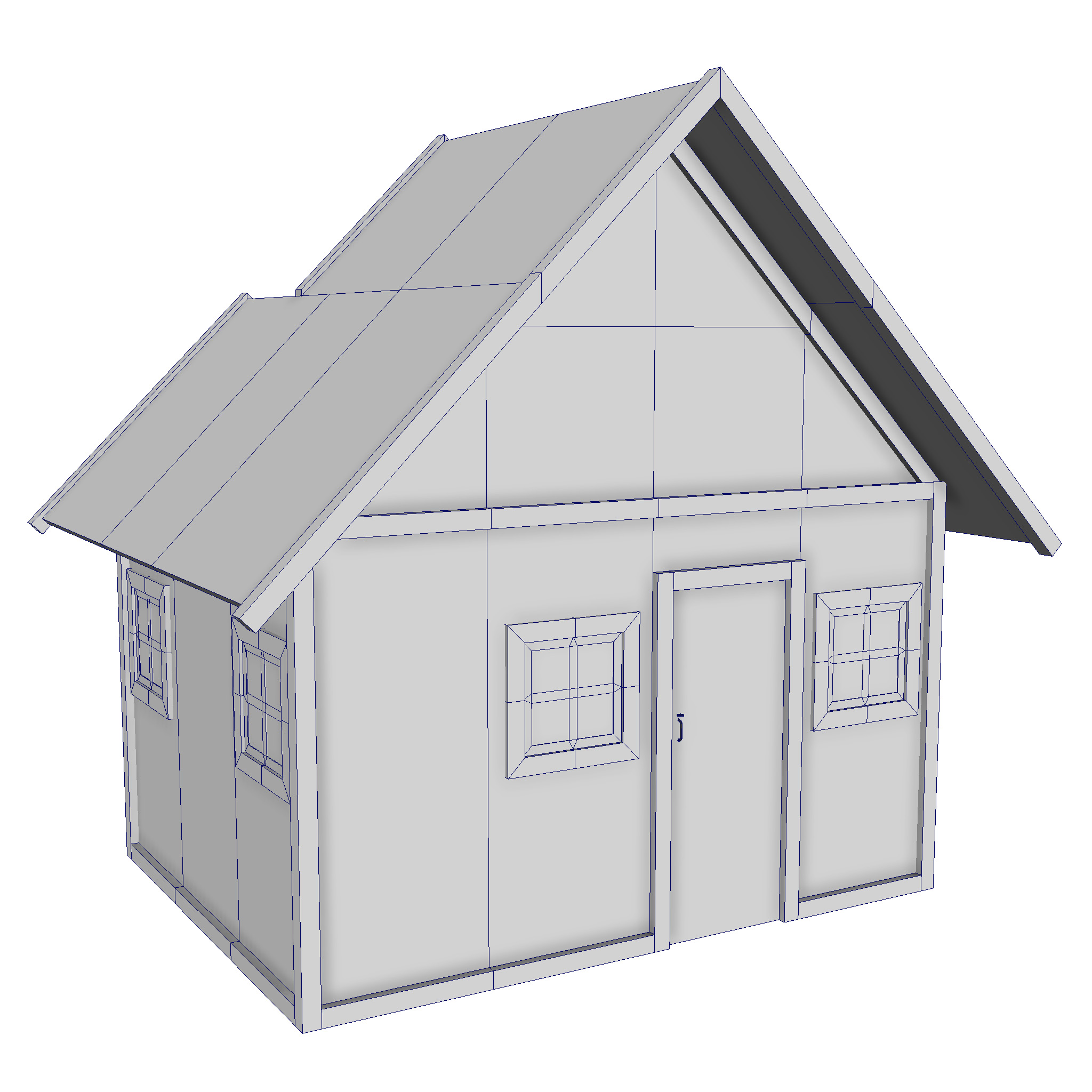 modular wood house set 3d model fbx ma mb 271448