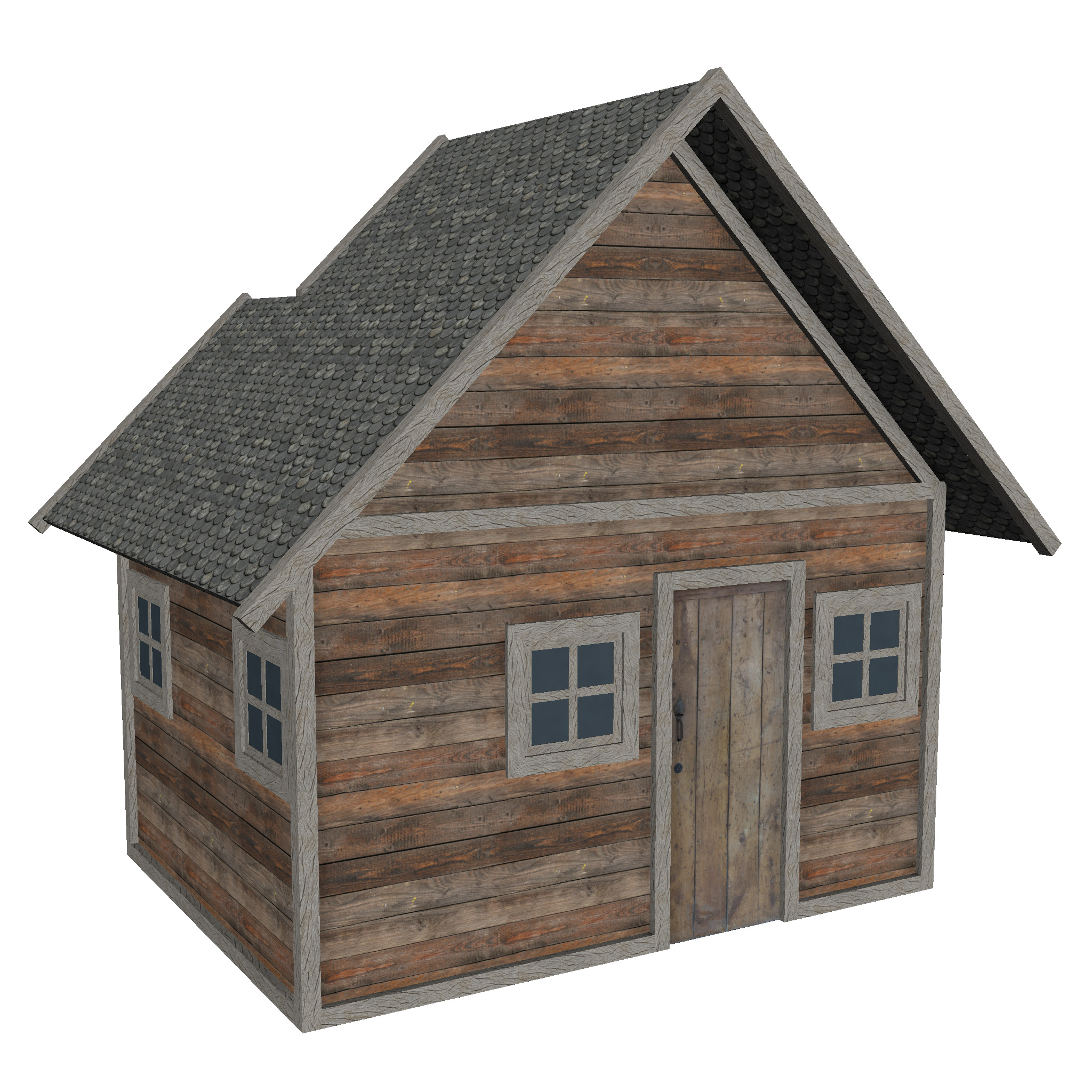 modular wood house set 3d model fbx ma mb 271449