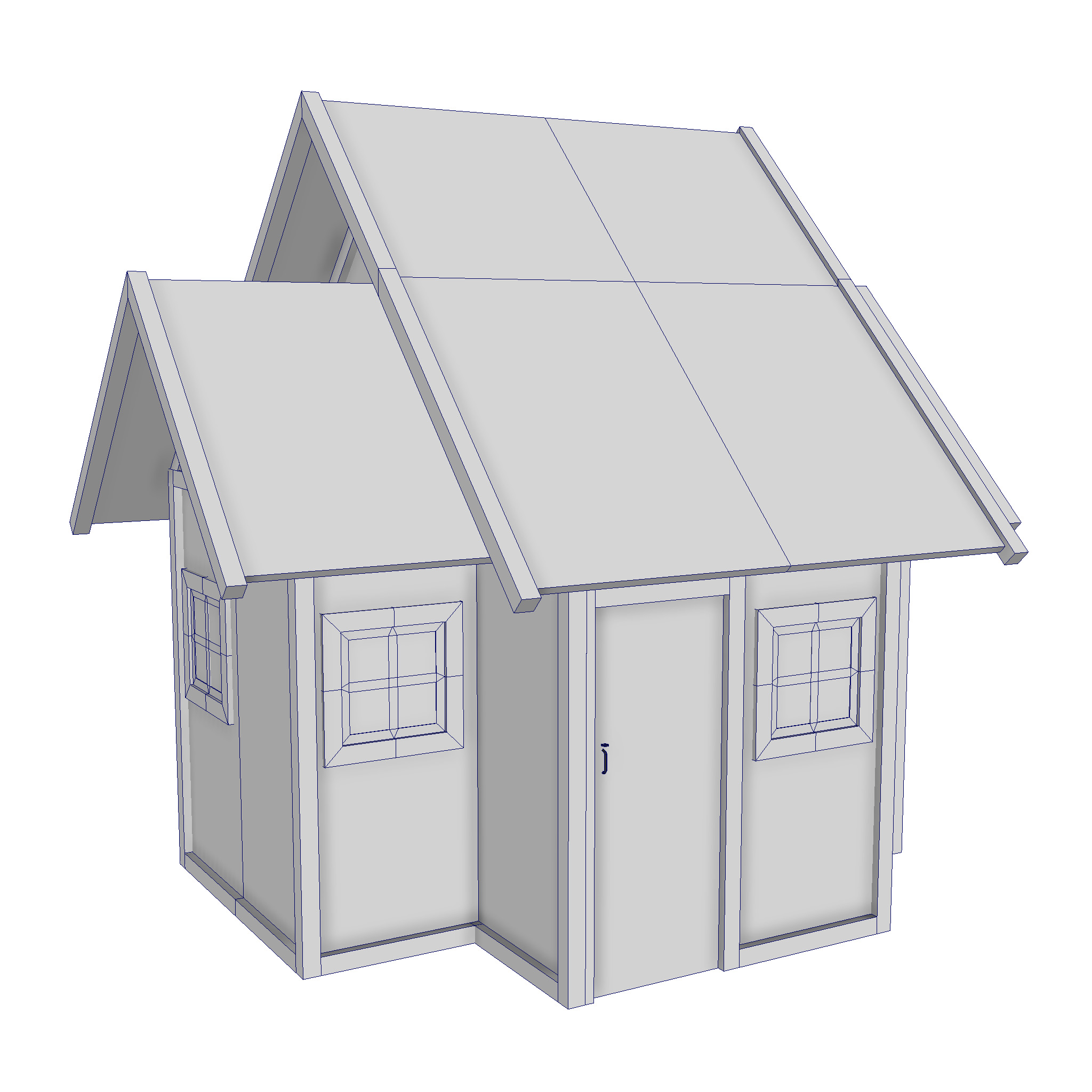modular wood house set 3d model fbx ma mb 271450