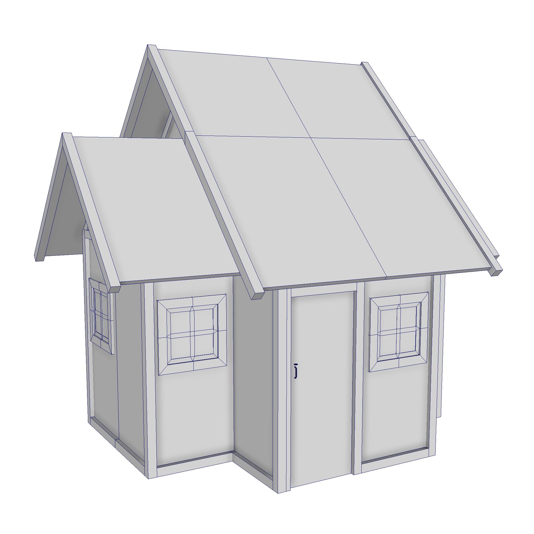 modularna drvena kućica set 3d model fbx ma mb 271450