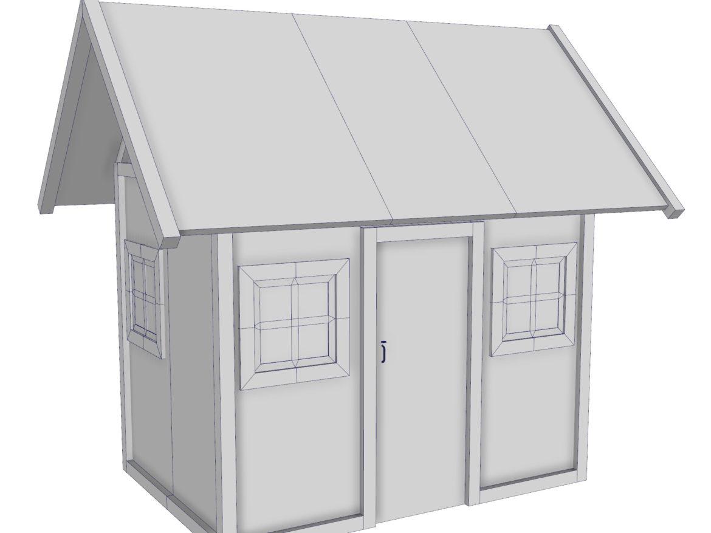 Modular Wood House Set 3d model 0