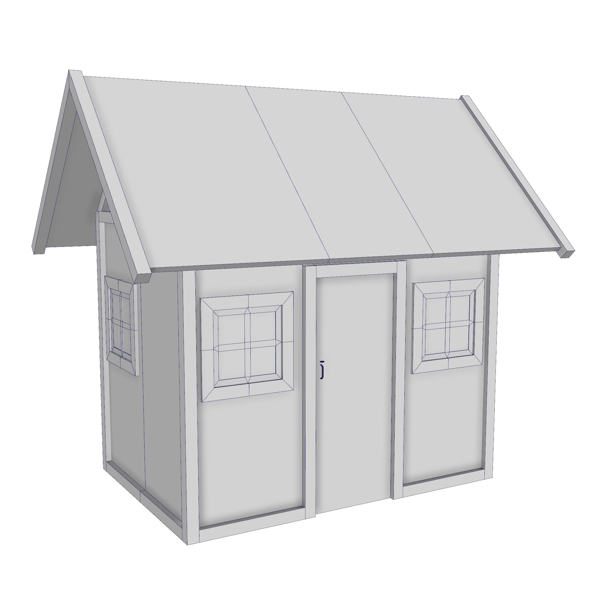 modularna drvena kućica set 3d model fbx ma mb 271456