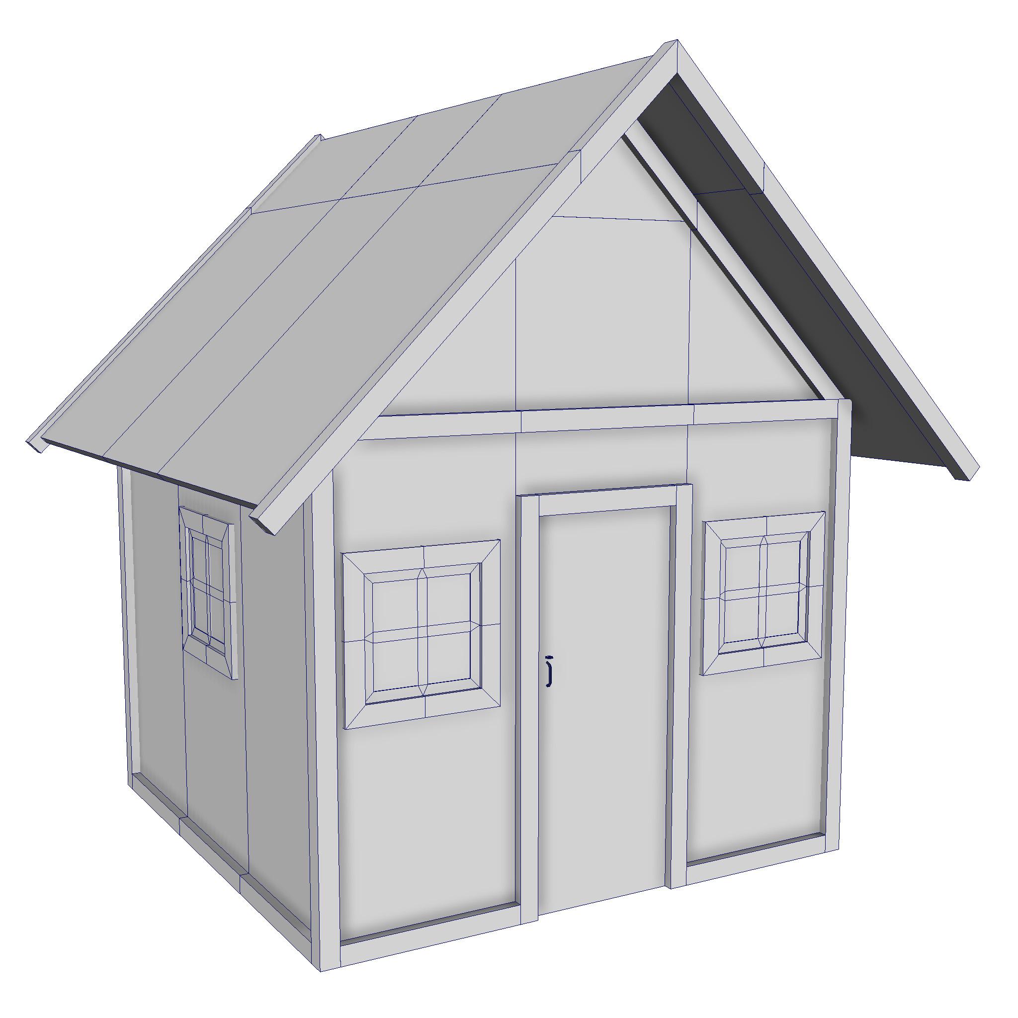 modularna drvena kućica set 3d model fbx ma mb 271458
