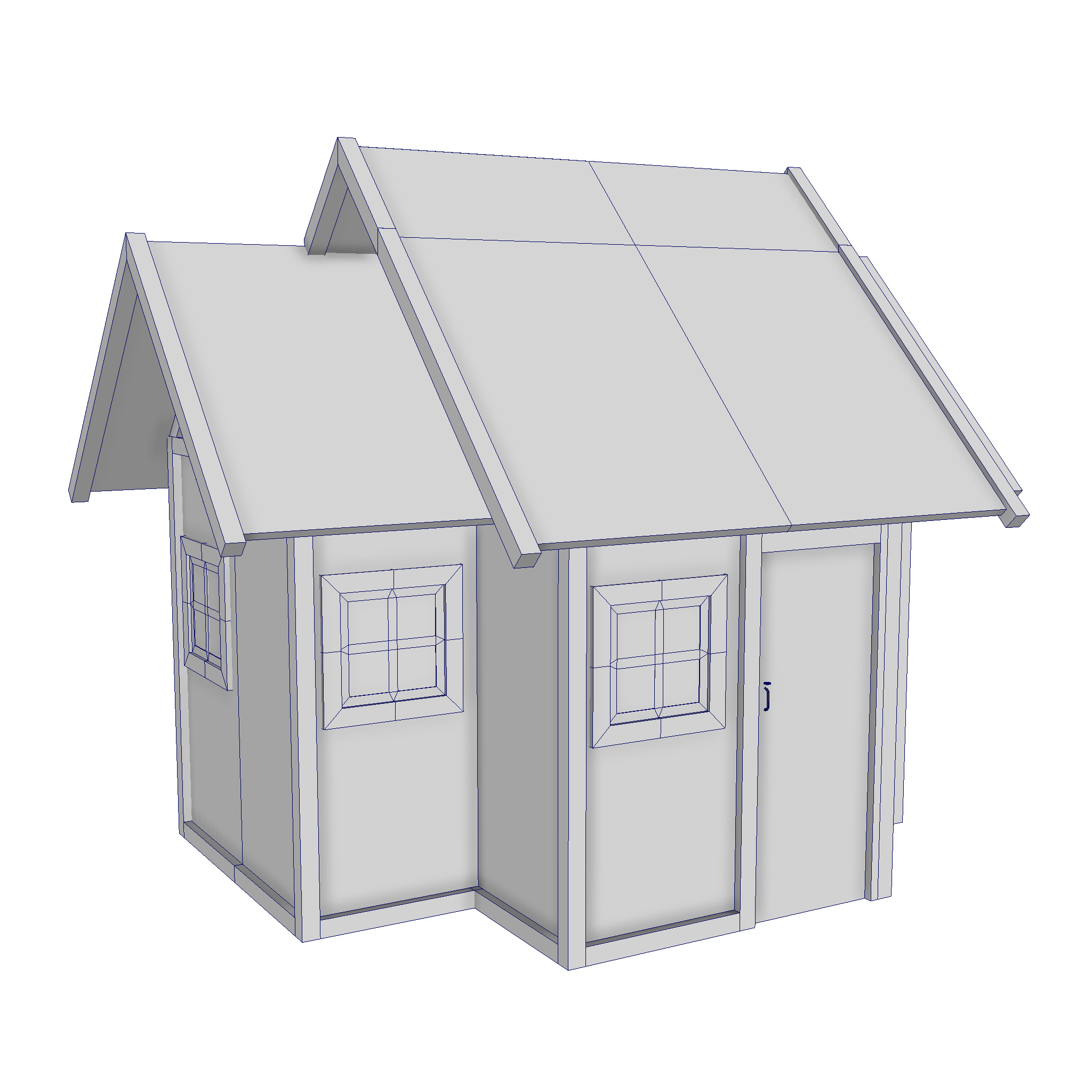 modular wood house set 3d model fbx ma mb 271460