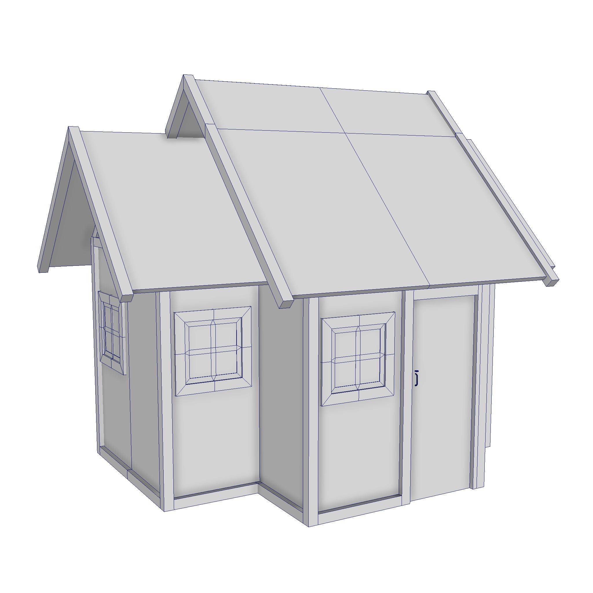 modularna drvena kućica set 3d model fbx ma mb 271460