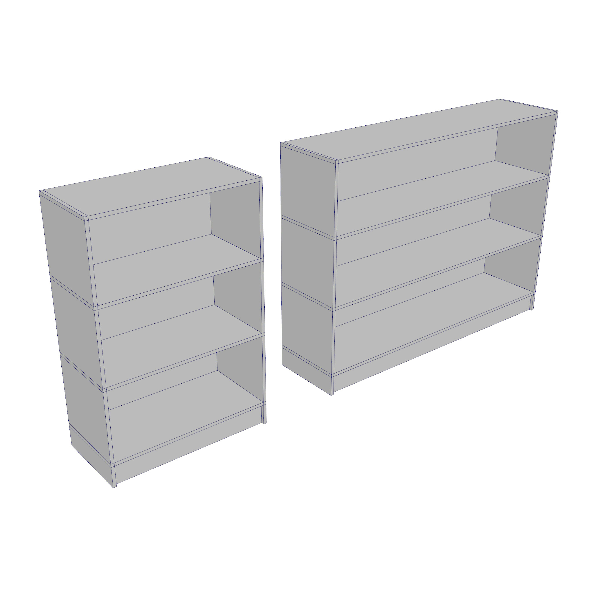 bookcase – two sizes 3d model 3ds fbx ma mb obj 271541