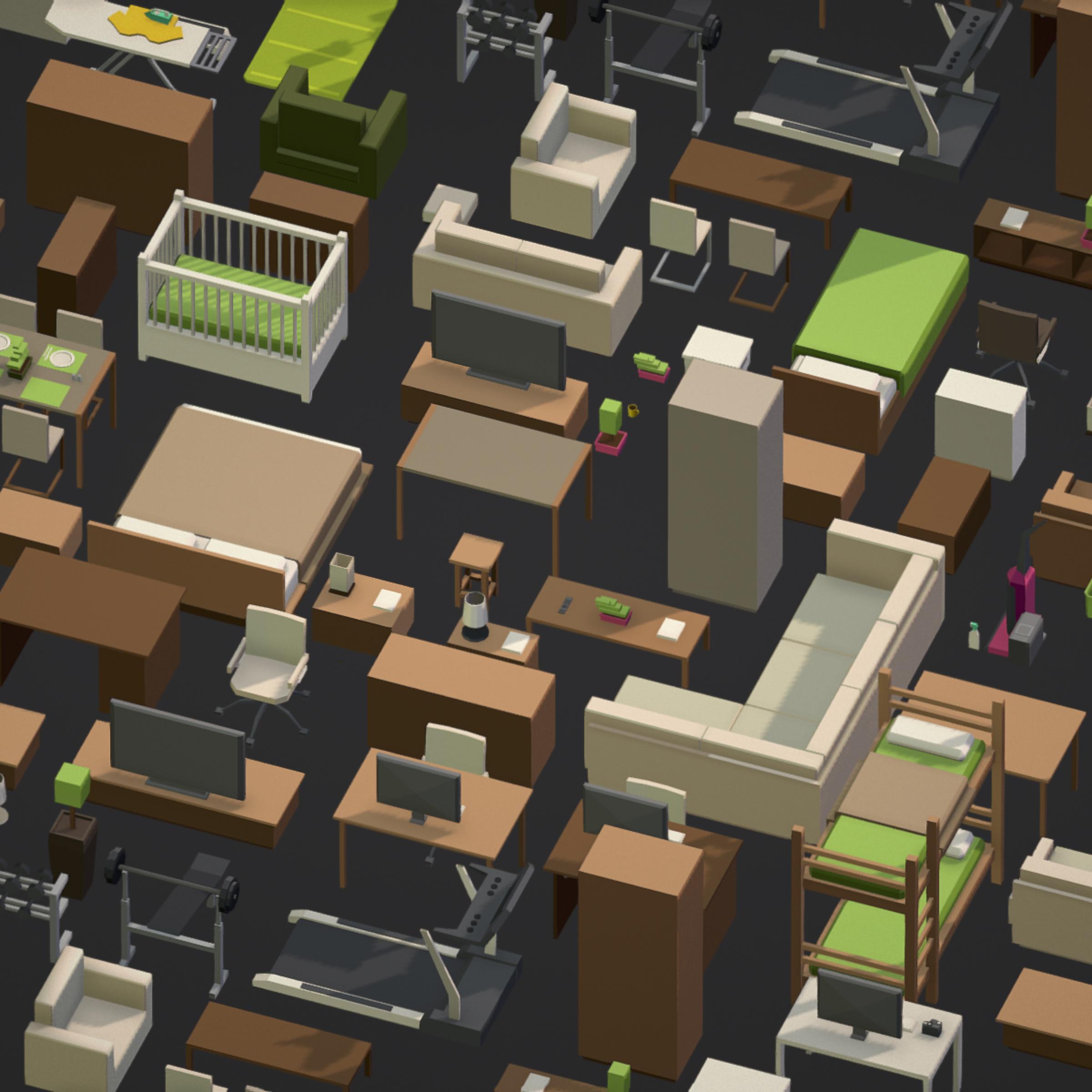 100 object Isometric Home Office Furniture Fitness 3d model max 3ds max plugin fbx ma mb png obj 271904