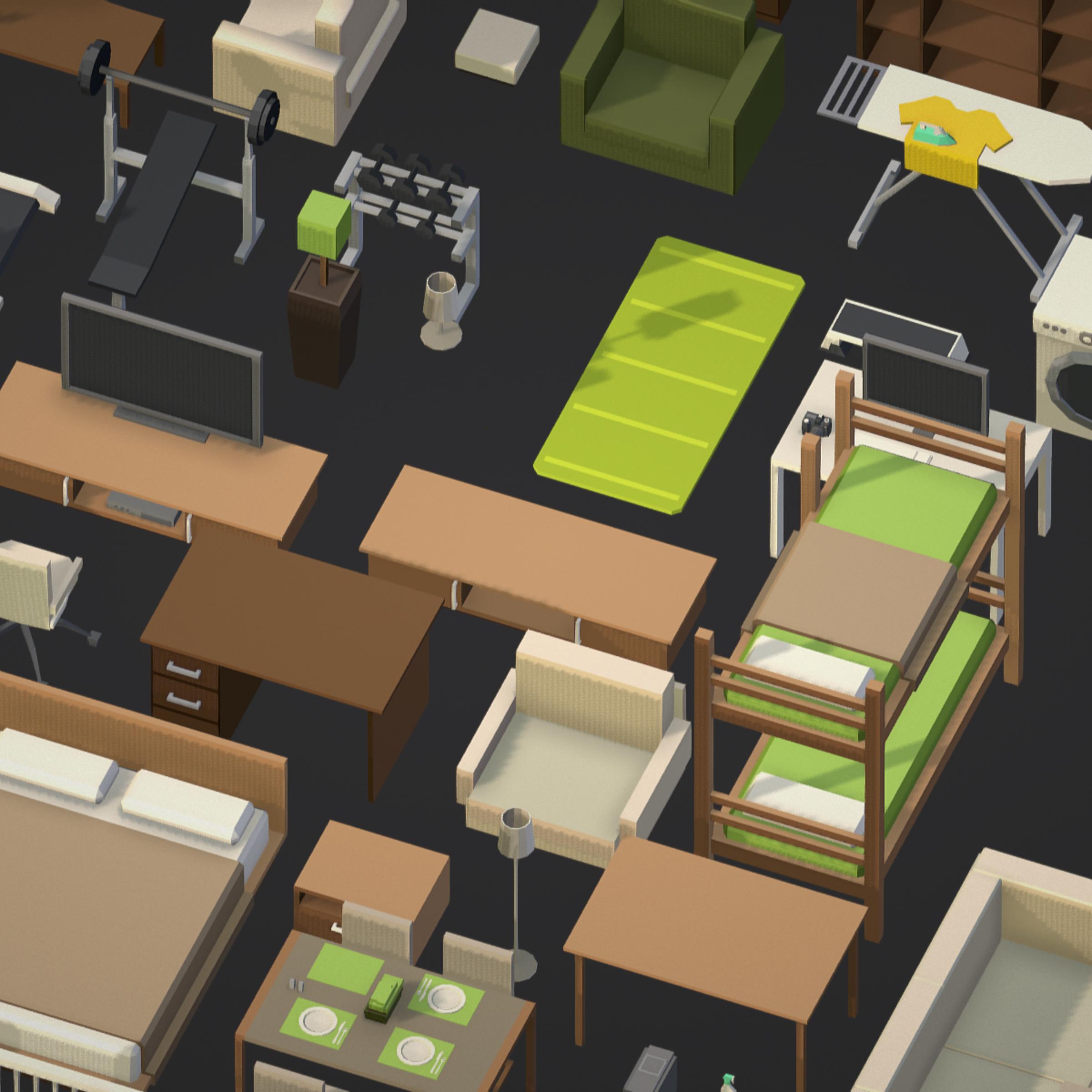 100 object Isometric Home Office Furniture Fitness 3d model max 3ds max plugin fbx ma mb png obj 271906