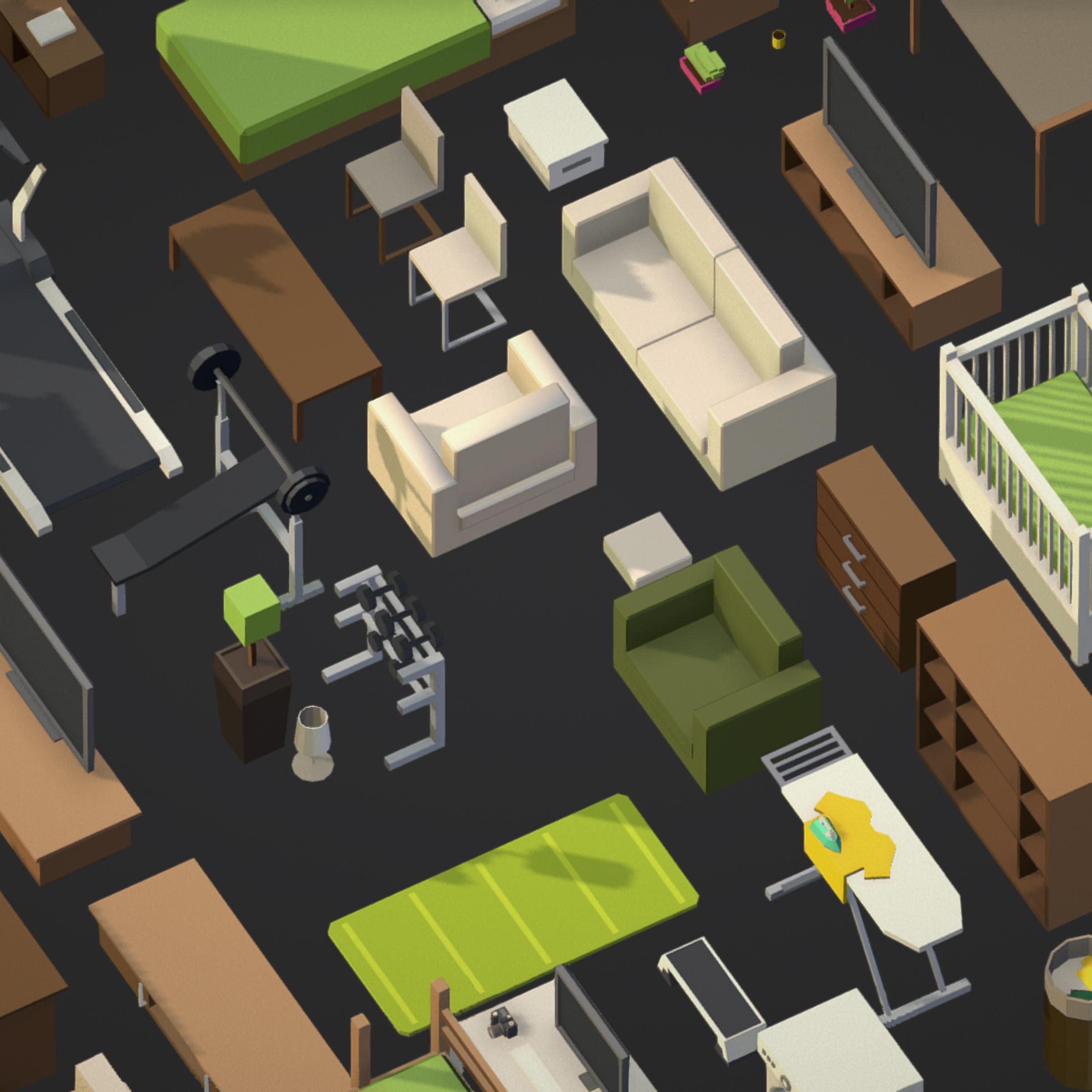 100 object Isometric Home Office Furniture Fitness 3d model max 3ds max plugin fbx ma mb png obj 271907