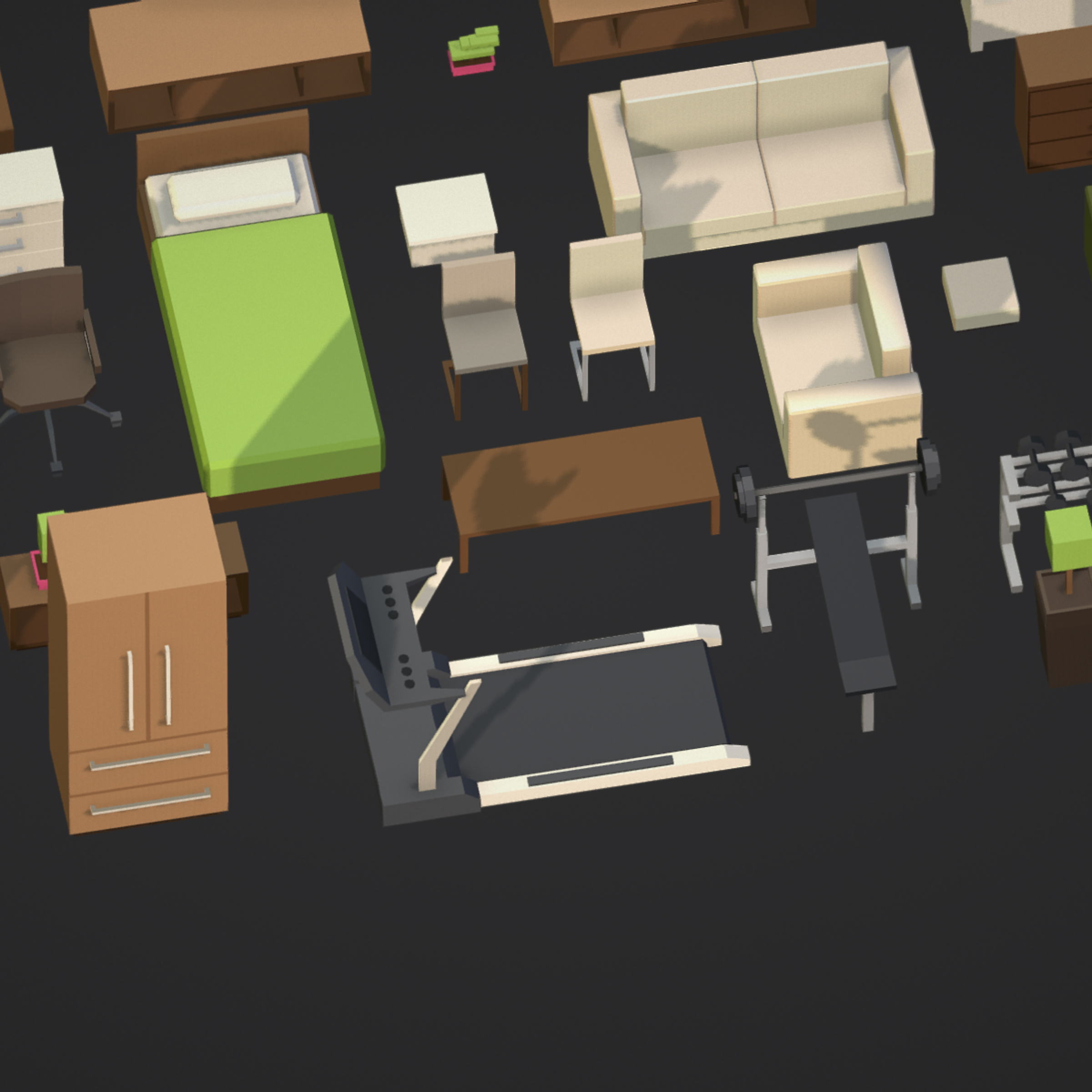 100 Object Isometric Home Office Furniture Fitness 3d Model Buy 100 Object Isometric Home