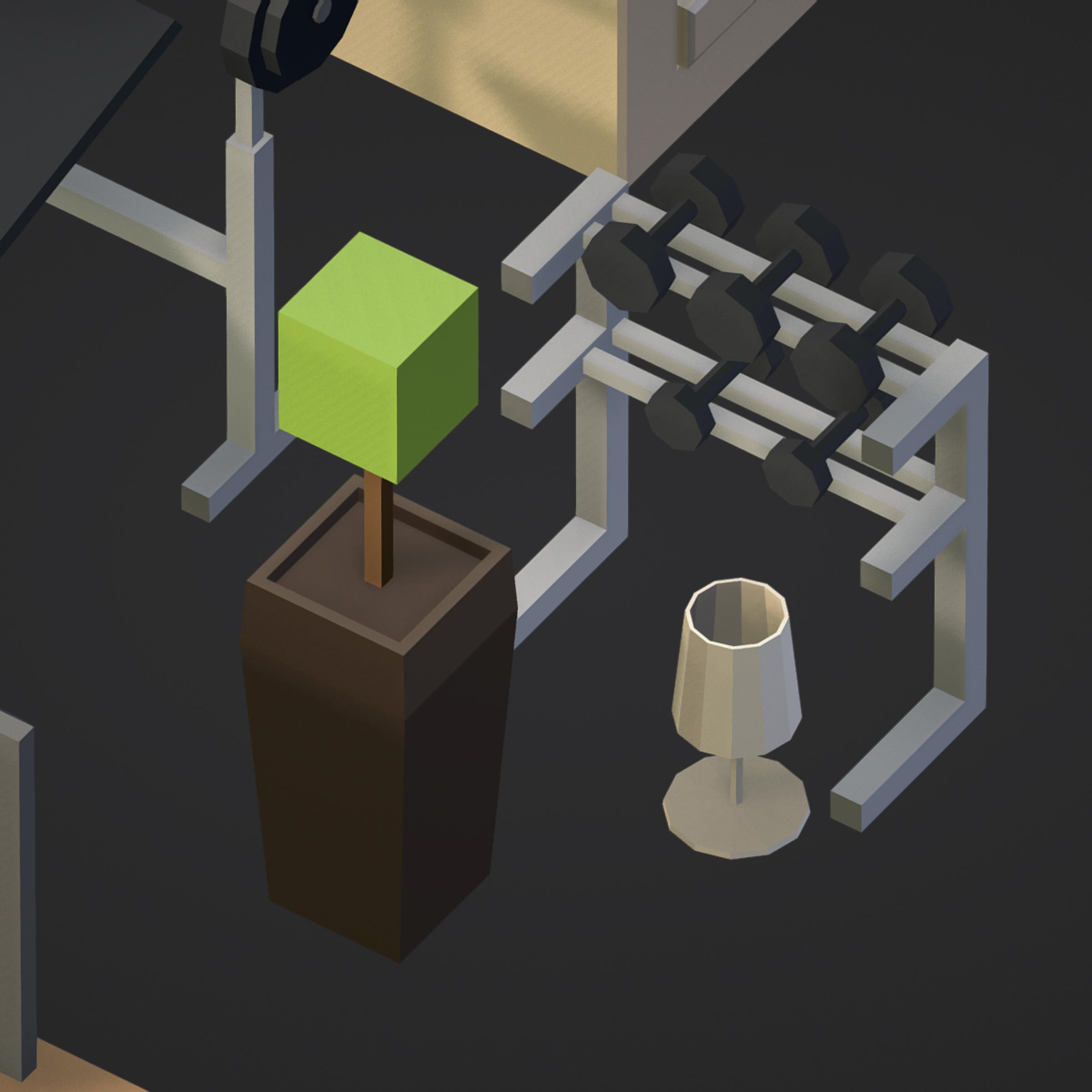 100 object Isometric Home Office Furniture Fitness 3d model max 3ds max plugin fbx ma mb png obj 271919