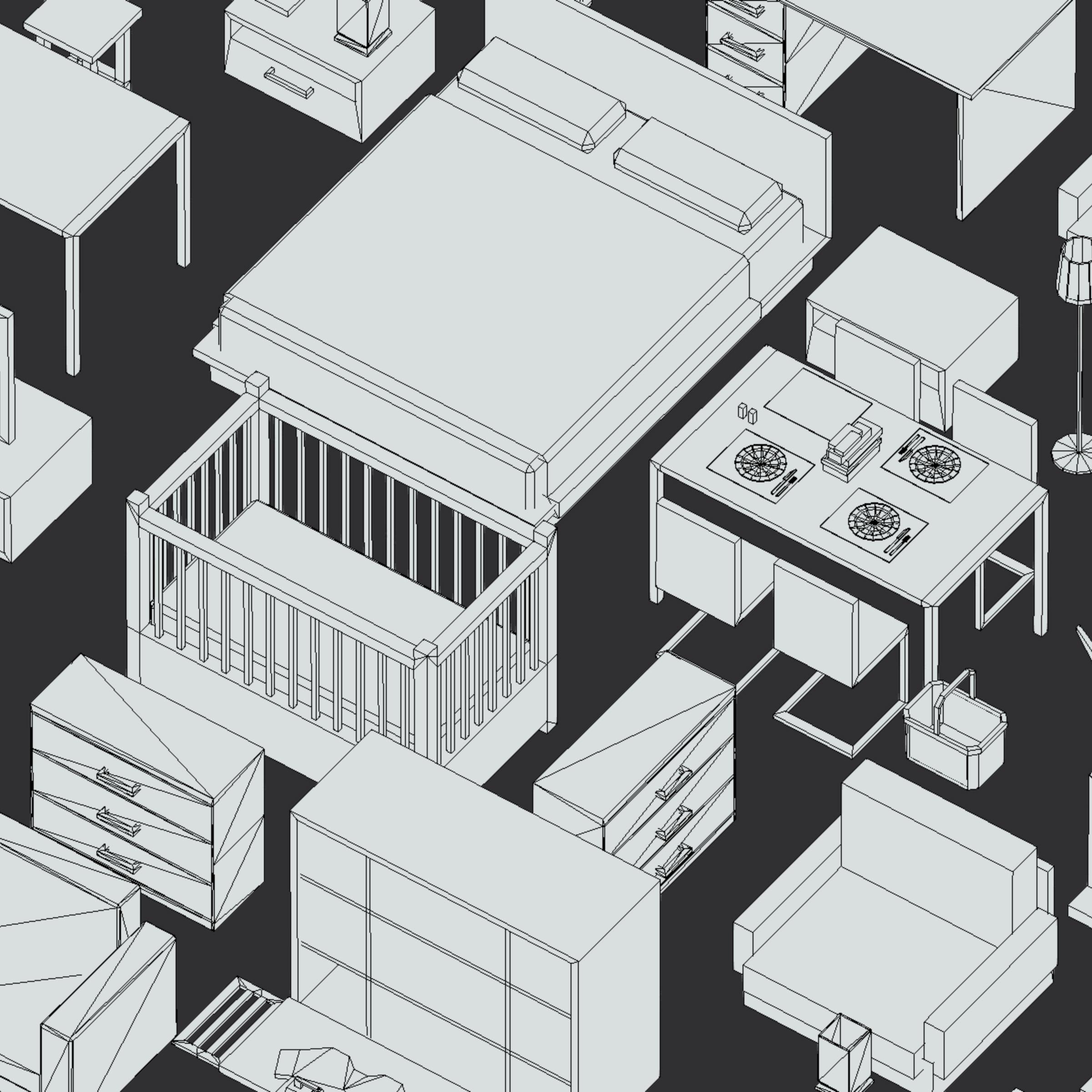 100 object Isometric Home Office Furniture Fitness 3d model max 3ds max plugin fbx ma mb png obj 271927
