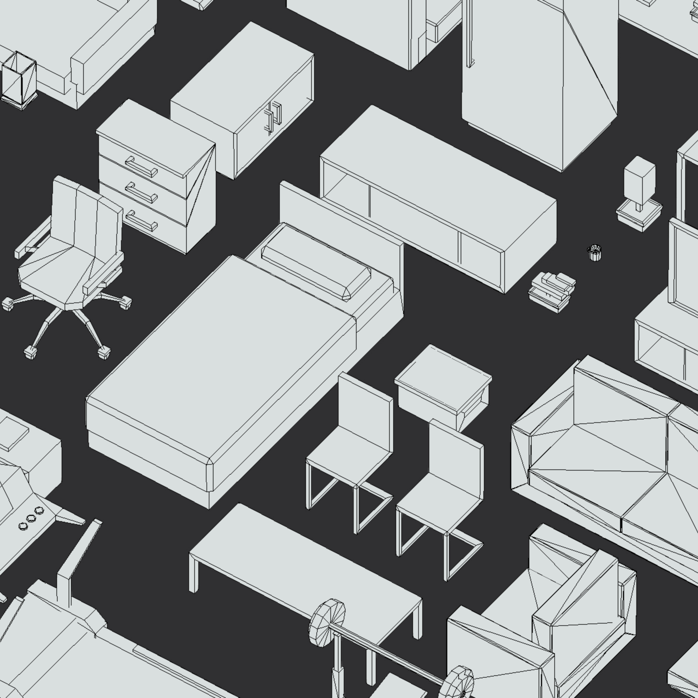 100 object Isometric Home Office Furniture Fitness 3d model max 3ds max plugin fbx ma mb png obj 271928