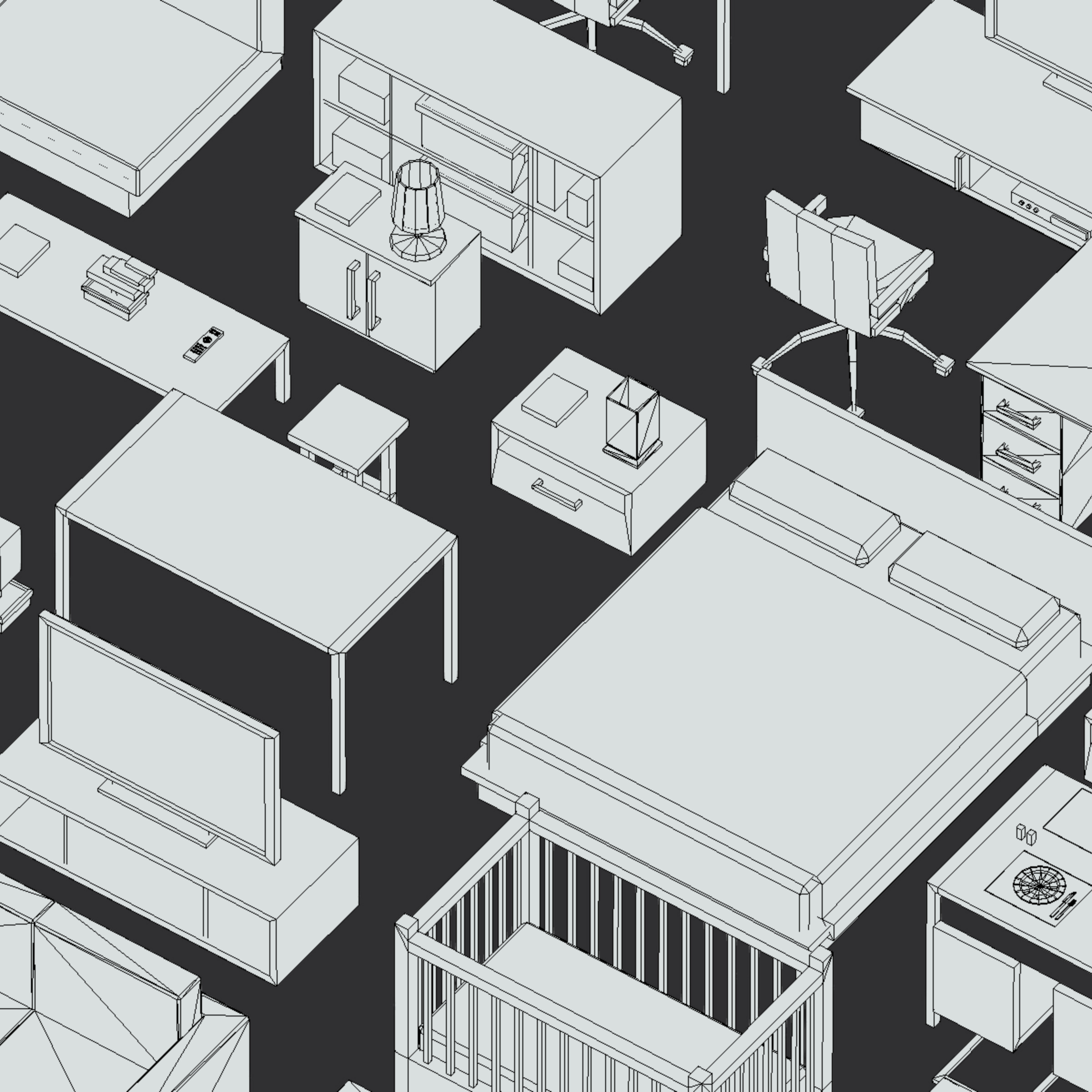 100 object Isometric Home Office Furniture Fitness 3d model max 3ds max plugin fbx ma mb png obj 271929