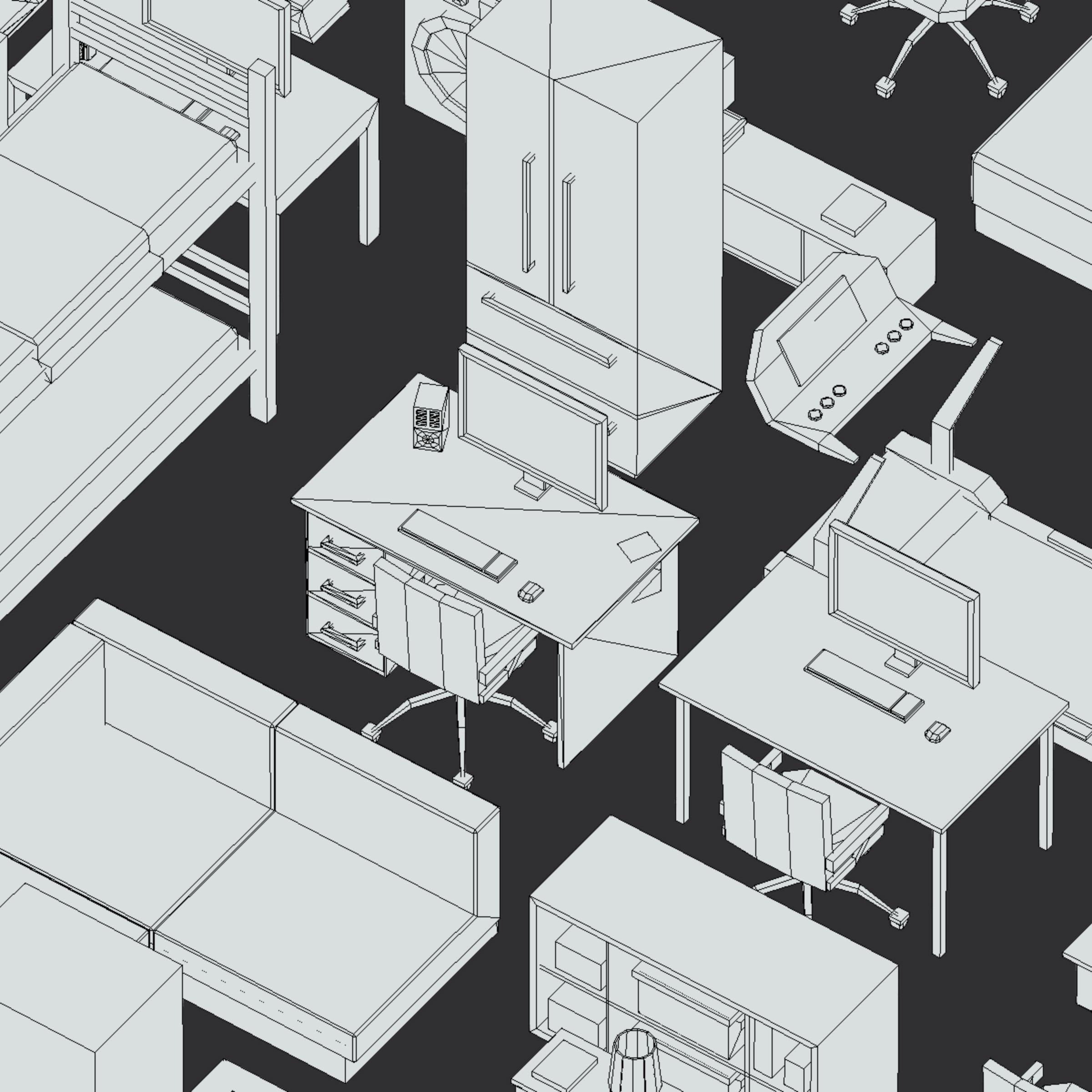 100 object Isometric Home Office Furniture Fitness 3d model max 3ds max plugin fbx ma mb png obj 271930